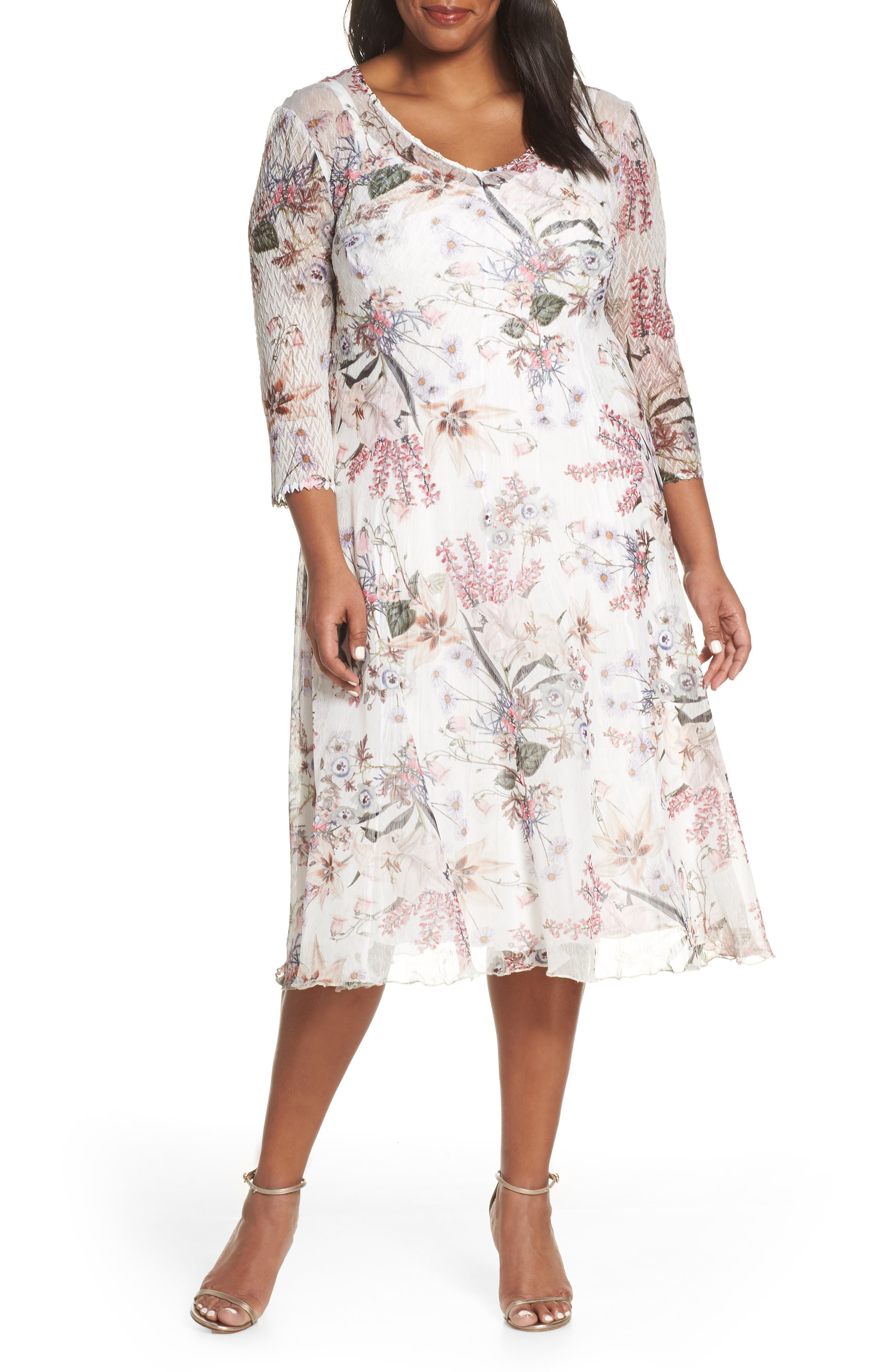 Plus Size Komarov V-Neck Floral Print Chiffon Cocktail Dress, Ivory