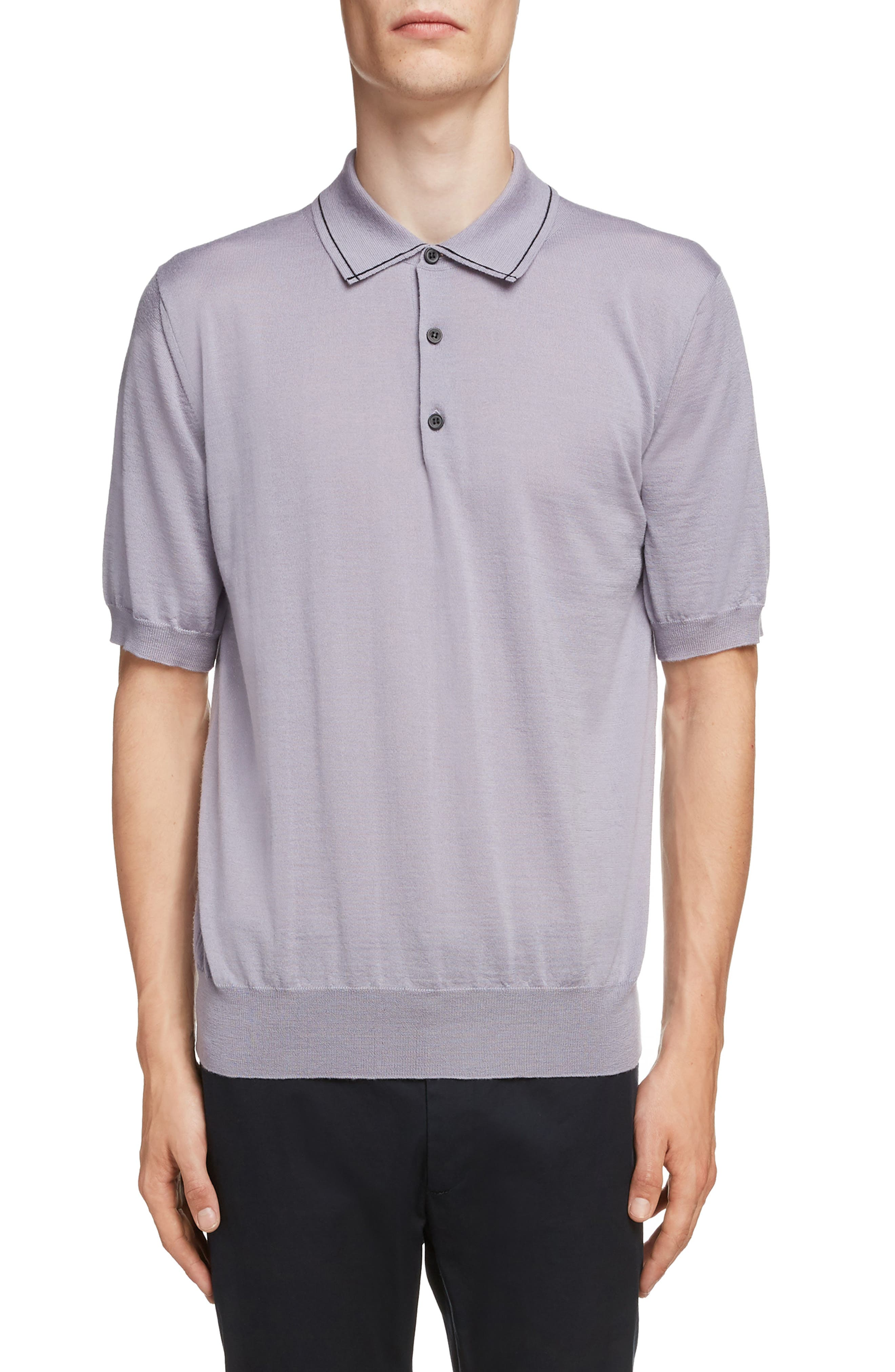 LANVIN, Piped Collar Wool Polo, Main thumbnail 1, color, LAVENDER