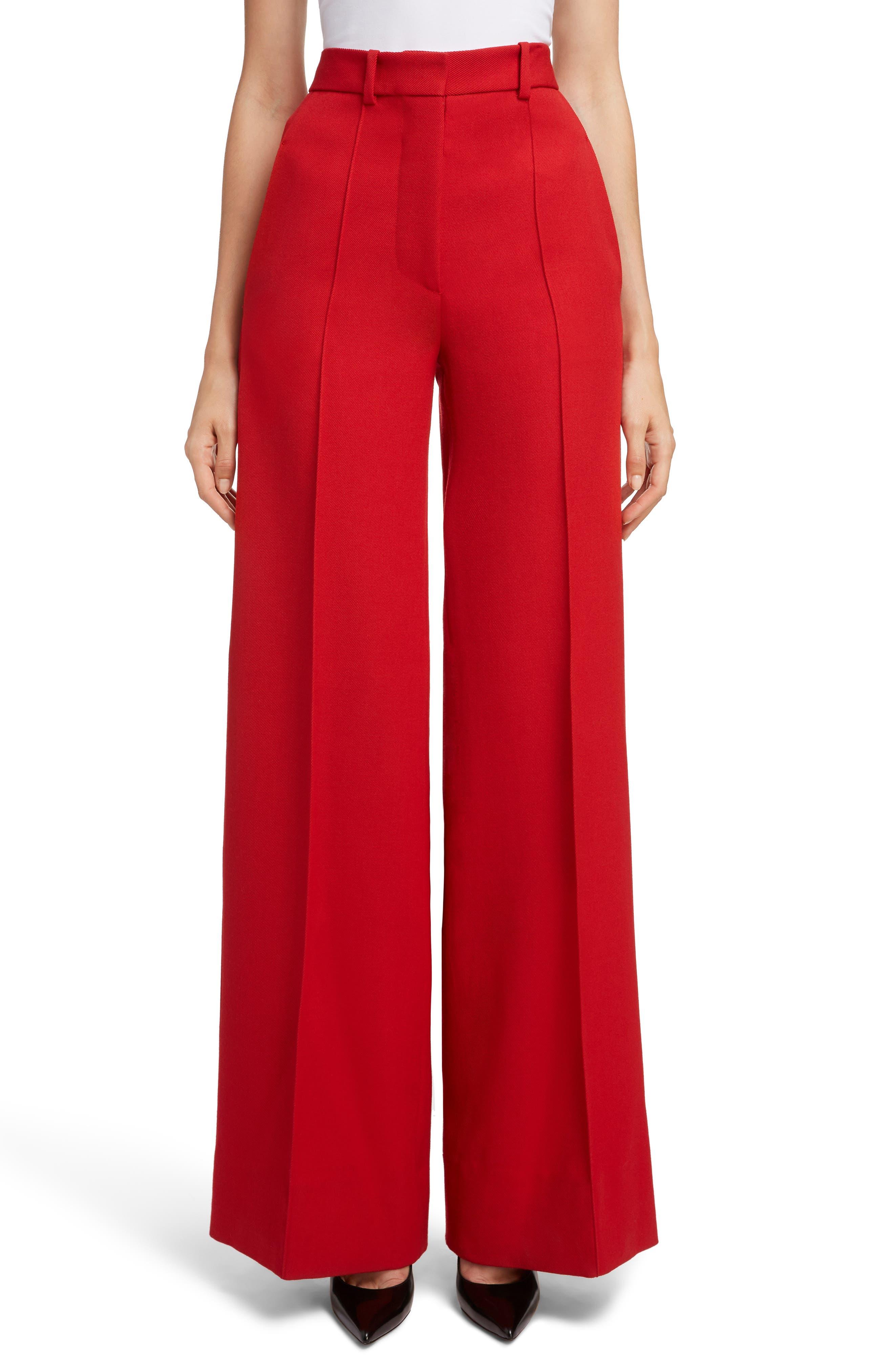 VICTORIA BECKHAM, High Waist Wool Pants, Main thumbnail 1, color, RED