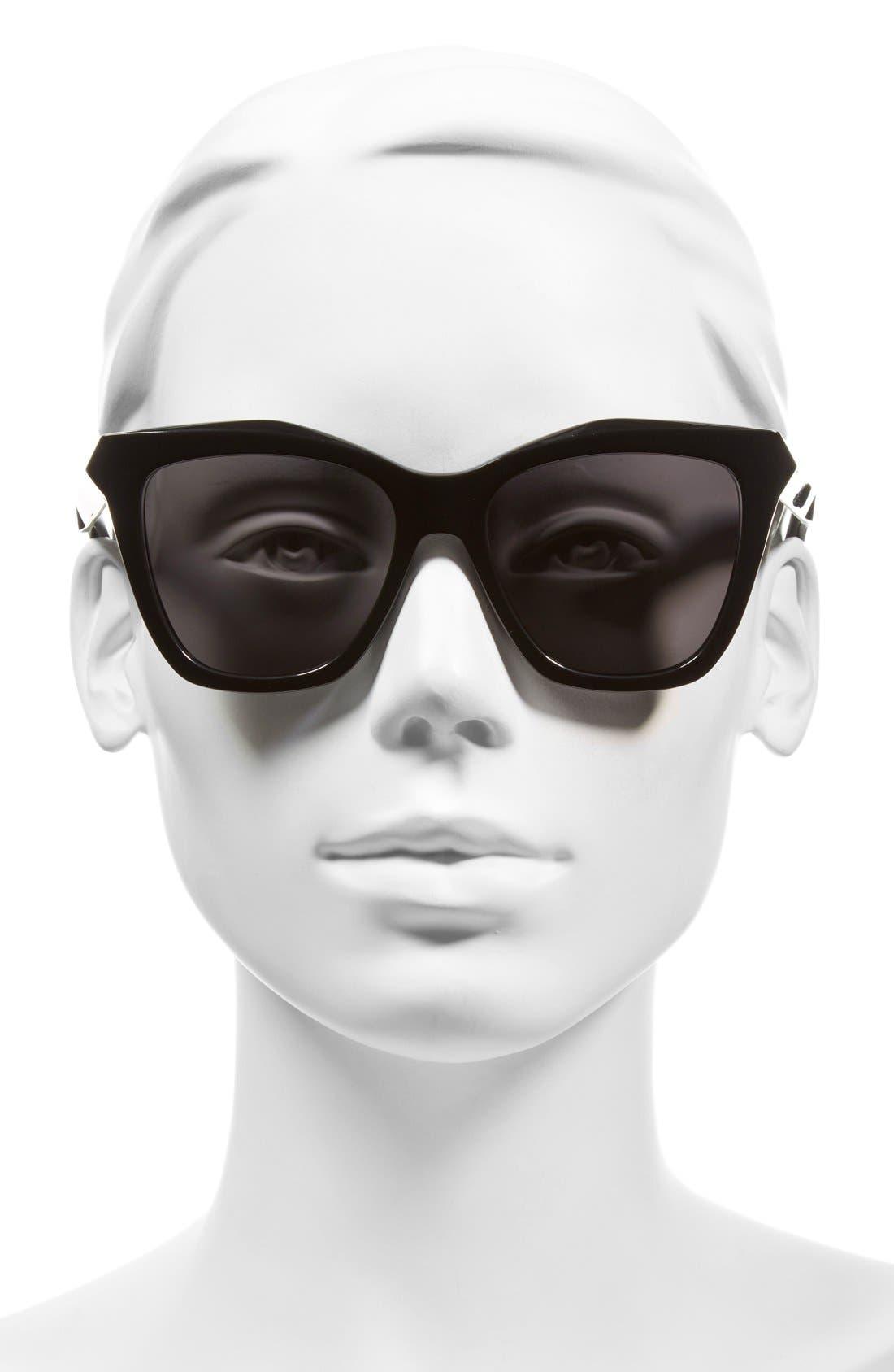 GIVENCHY, 53mm Cat Eye Sunglasses, Alternate thumbnail 2, color, 001