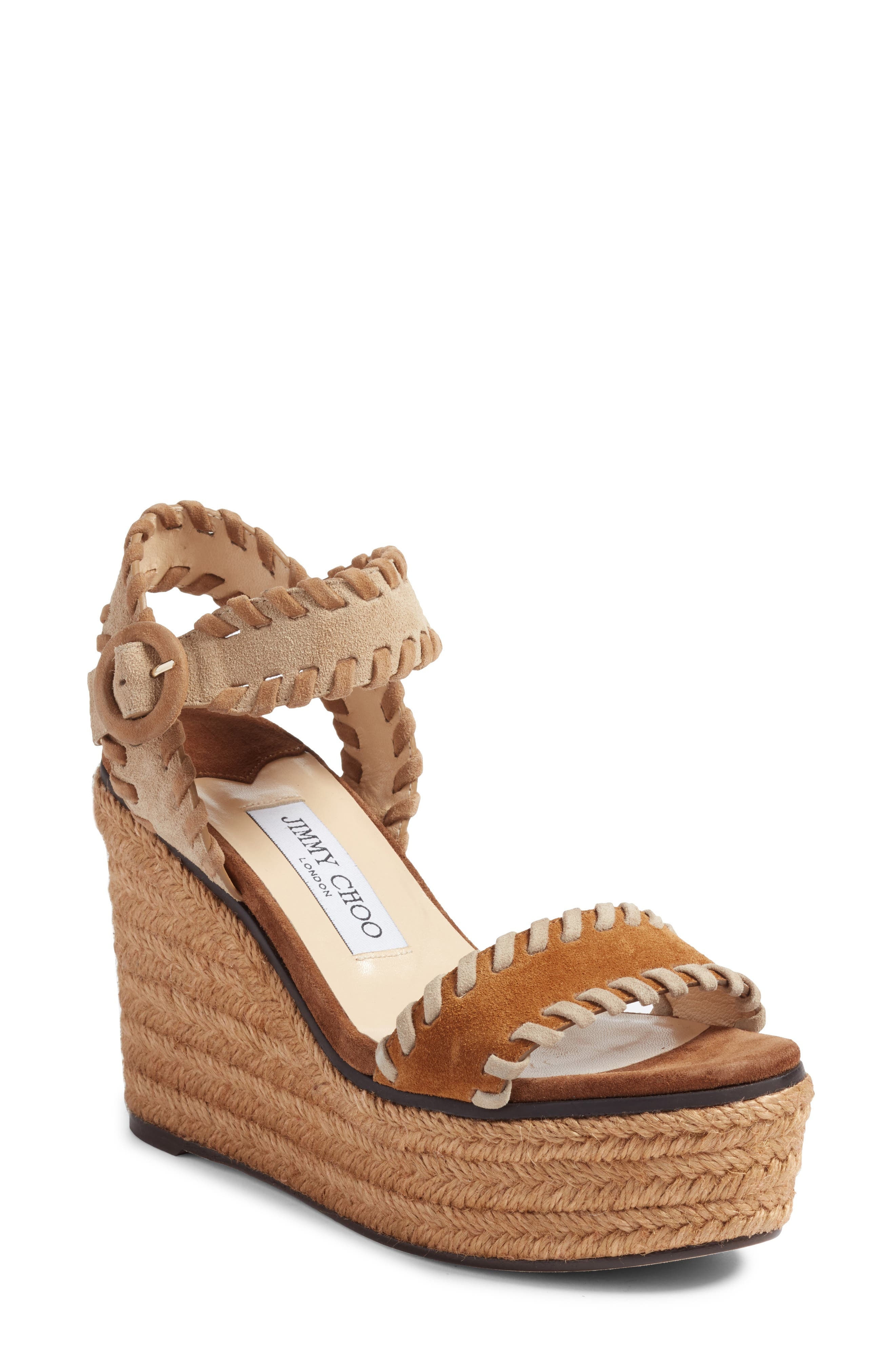 JIMMY CHOO, Abigail Whipstitch Wedge, Main thumbnail 1, color, NATURAL/ BROWN