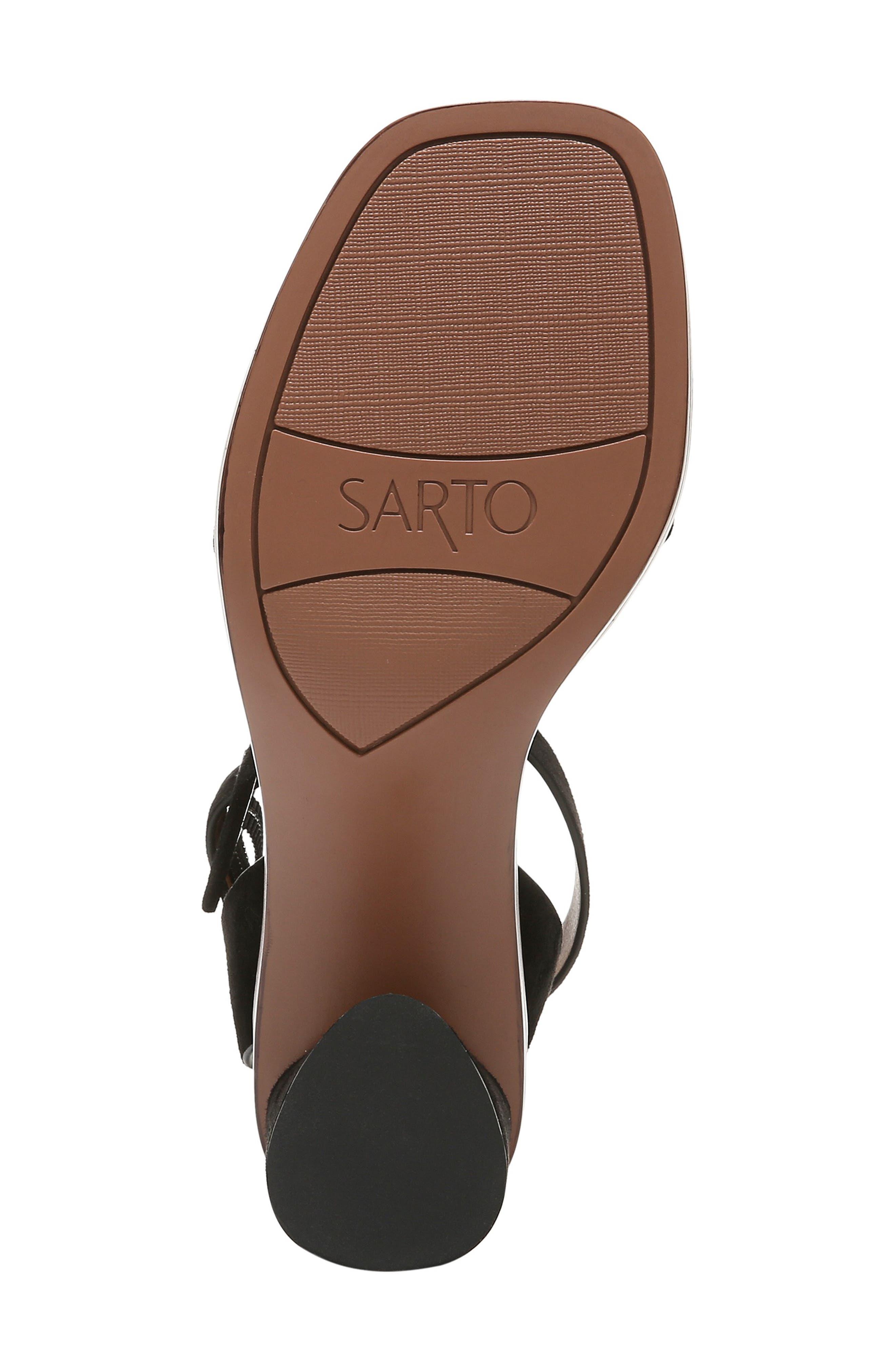 SARTO BY FRANCO SARTO, Risa Strap Sandal, Alternate thumbnail 6, color, BLACK SUEDE