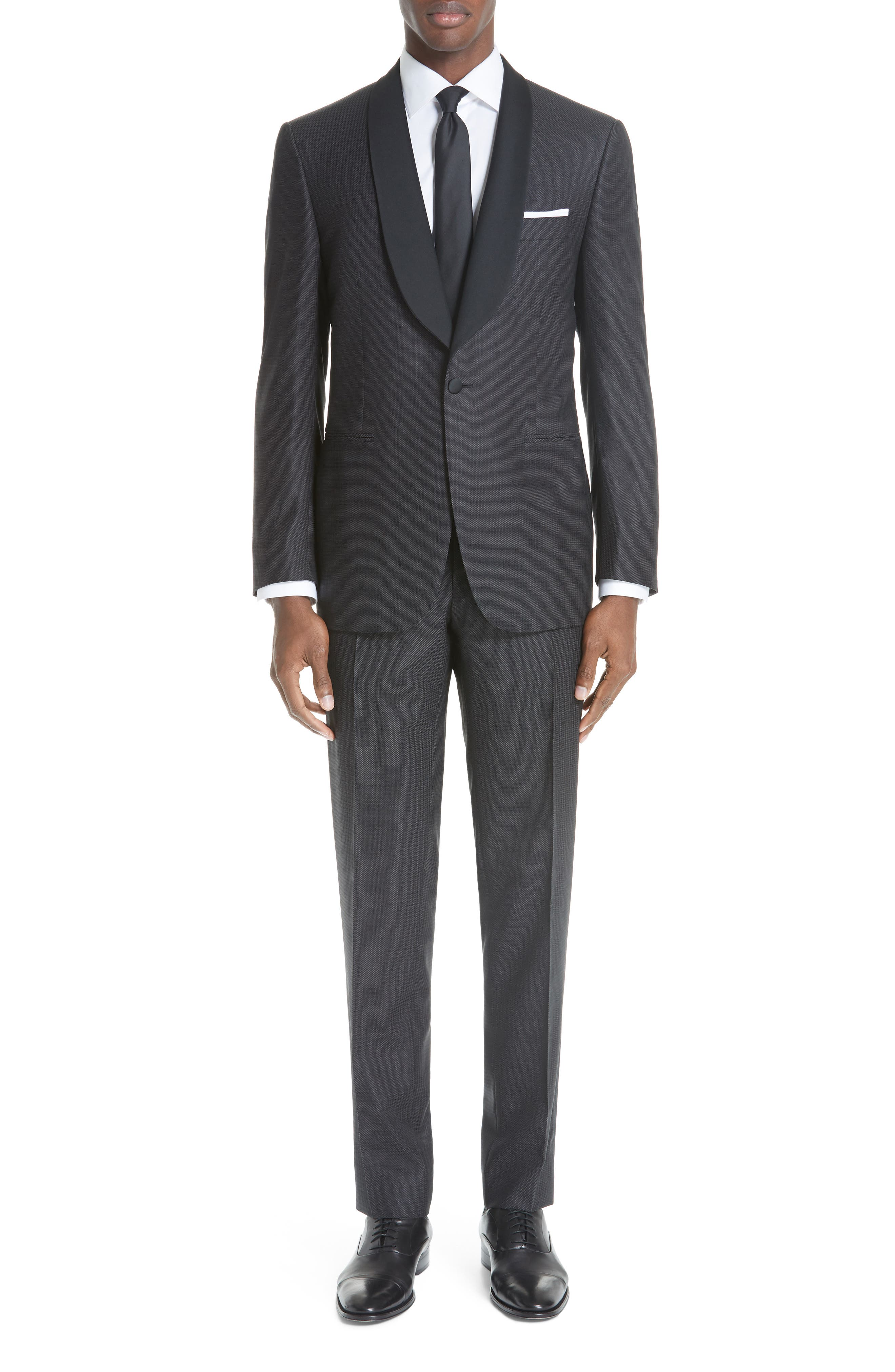 CANALI, Classic Fit Wool Tuxedo, Main thumbnail 1, color, CHARCOAL