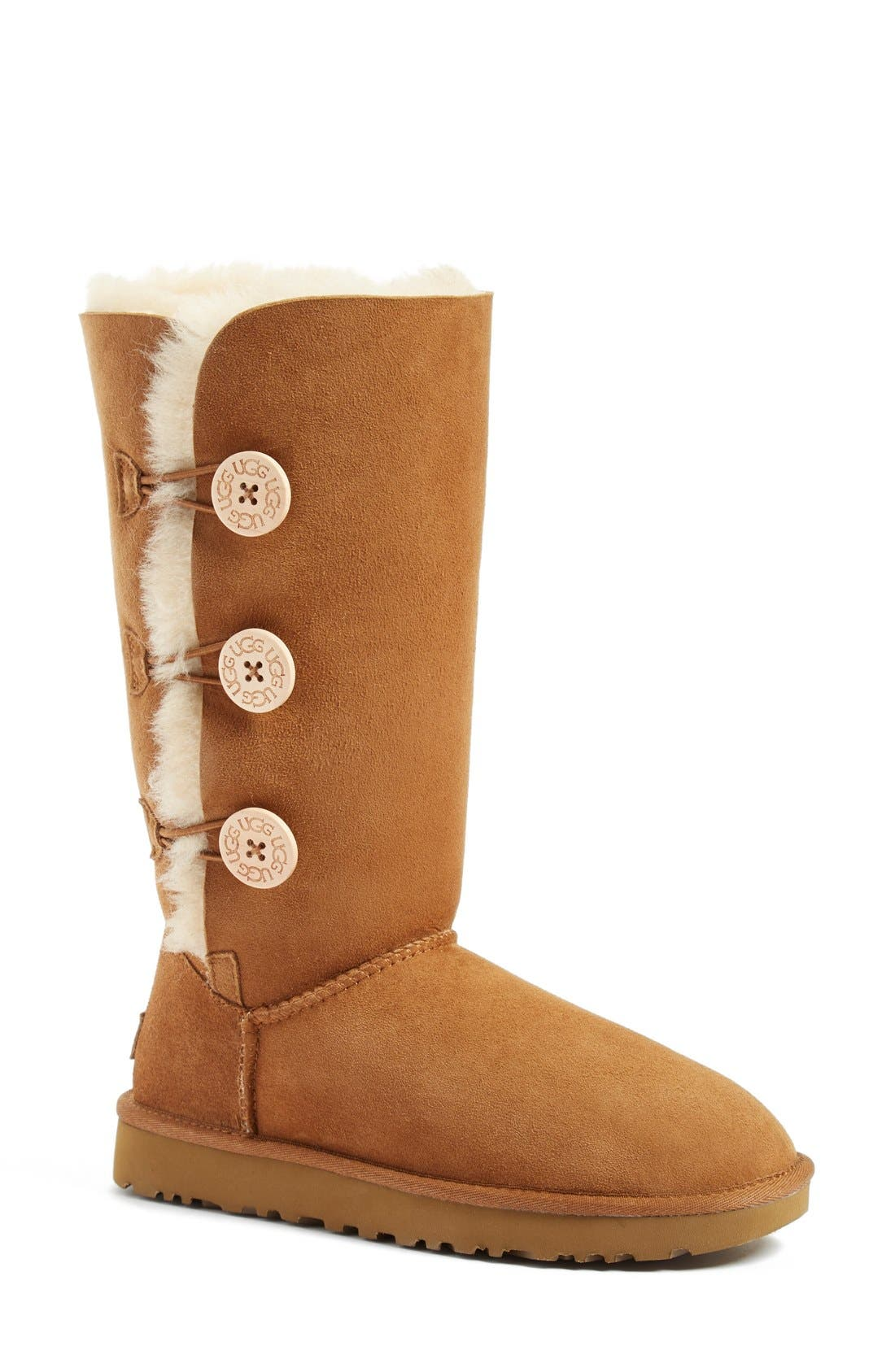 UGG<SUP>®</SUP>, Bailey Button Triplet II Genuine Shearling Boot, Main thumbnail 1, color, CHESTNUT SUEDE