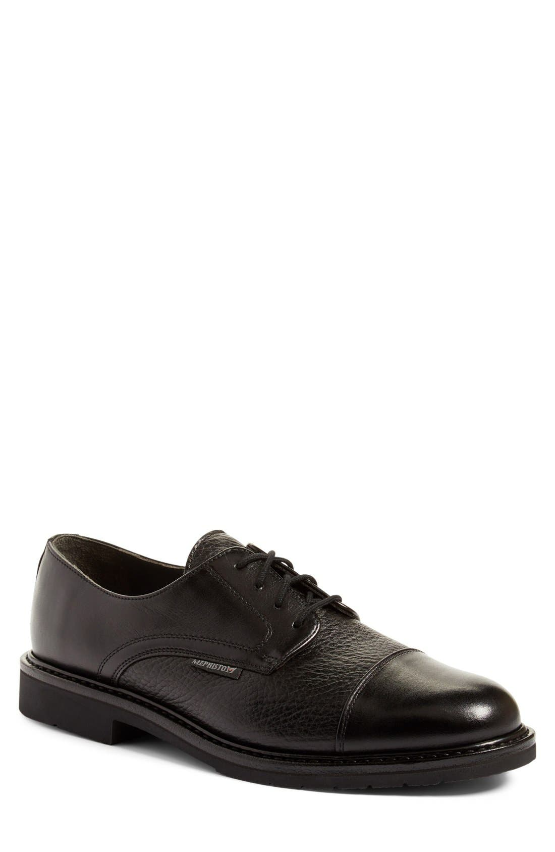 MEPHISTO, 'Melchior' Cap Toe Derby, Main thumbnail 1, color, BLACK LEATHER