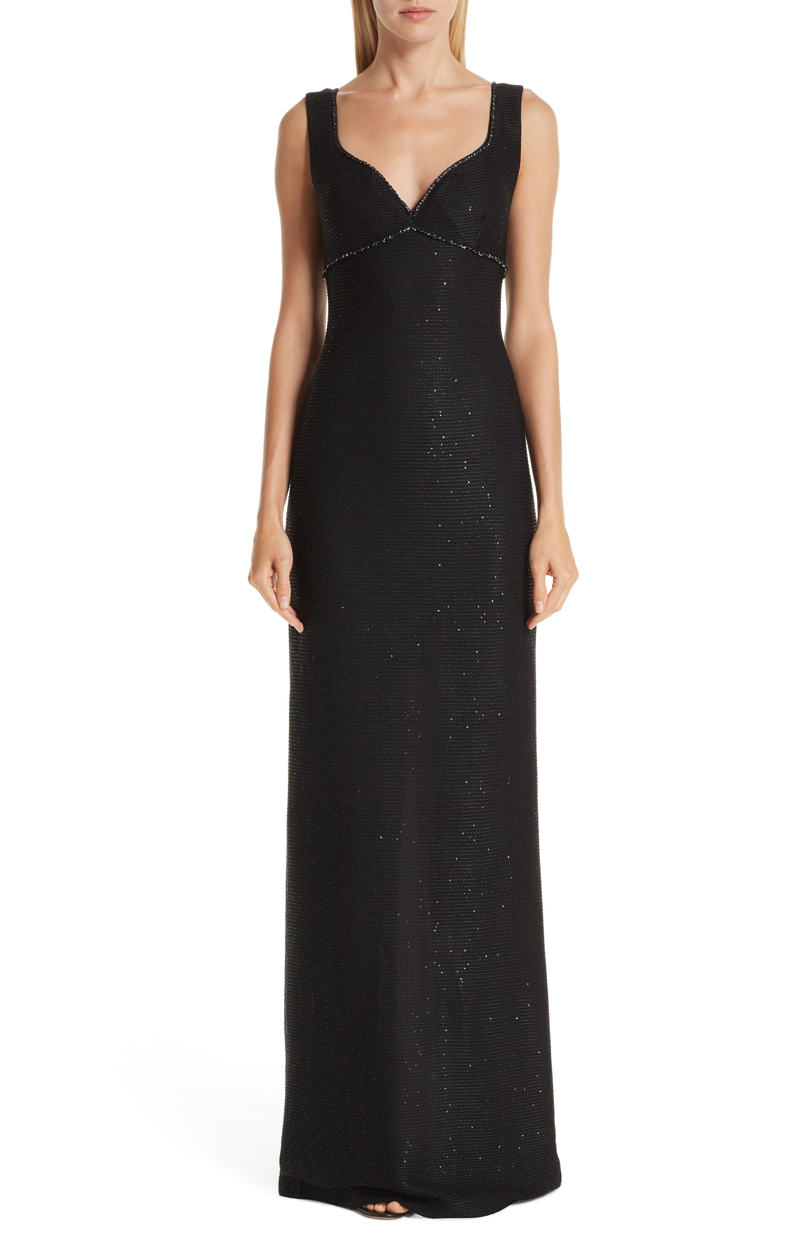 ST. JOHN COLLECTION Links Sequin Knit Gown, Main, color, CAVIAR