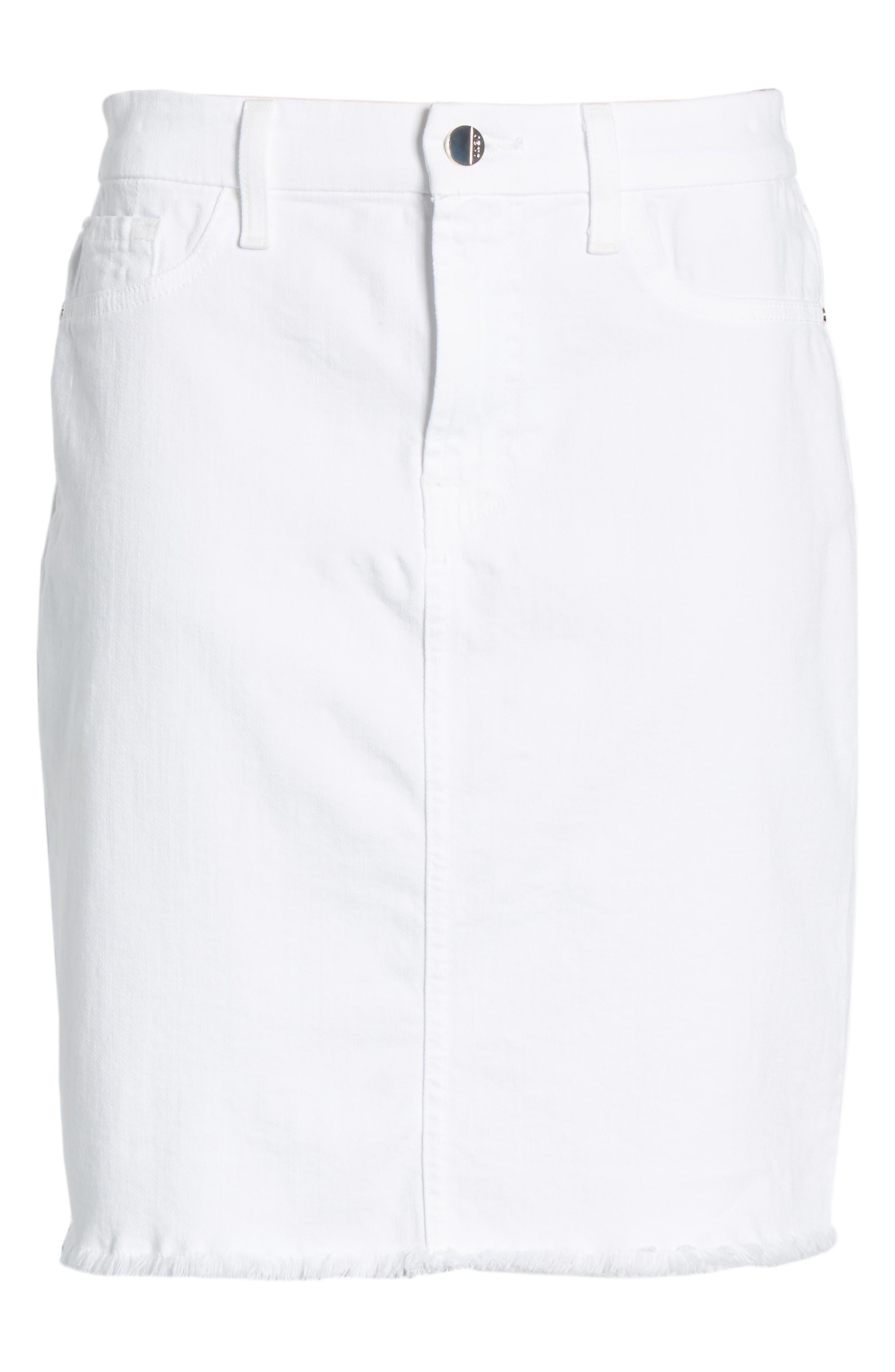JEN7 BY 7 FOR ALL MANKIND, Frayed Hem Denim Pencil Skirt, Alternate thumbnail 7, color, WHITE