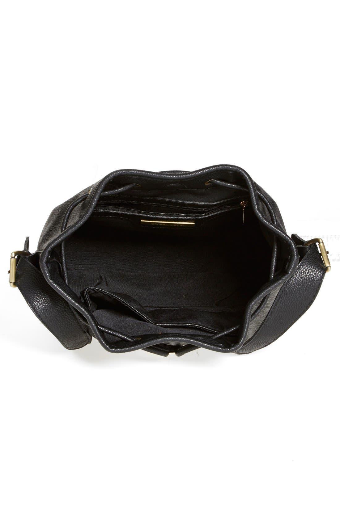 STREET LEVEL, 'Concha' Faux Leather Bucket Bag, Alternate thumbnail 3, color, 001