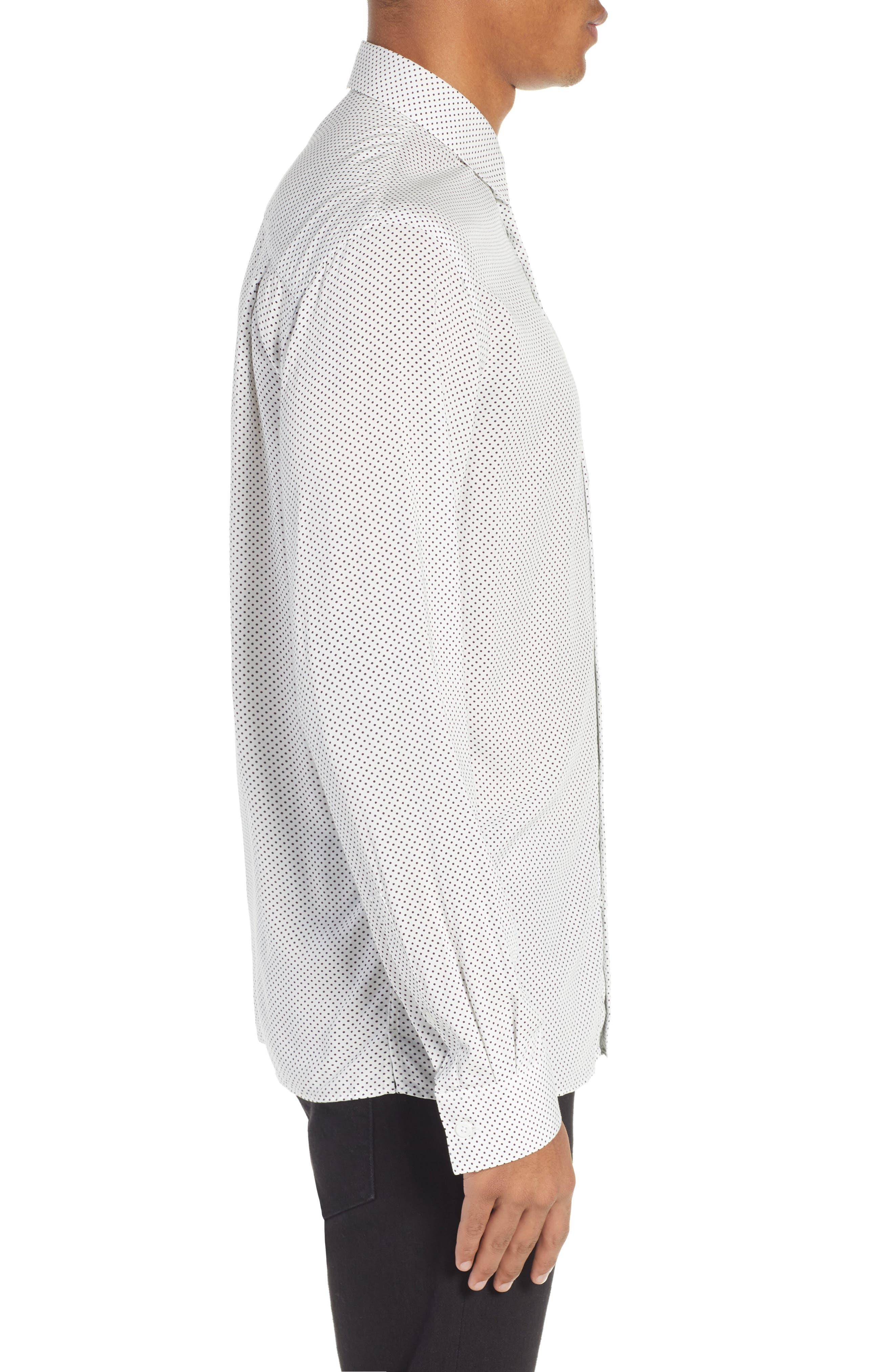 THE KOOPLES, Dot Print Sport Shirt, Alternate thumbnail 4, color, BEIGE-BLACK