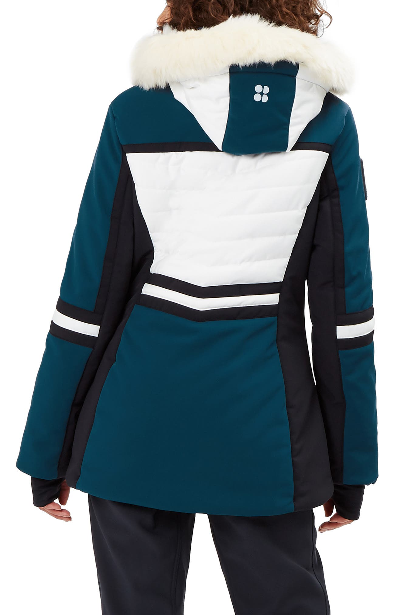 SWEATY BETTY, Method Hybrid Waterproof Ski Jacket with Faux Fur, Alternate thumbnail 2, color, BEETLE BLUE COLOUR BLOCK