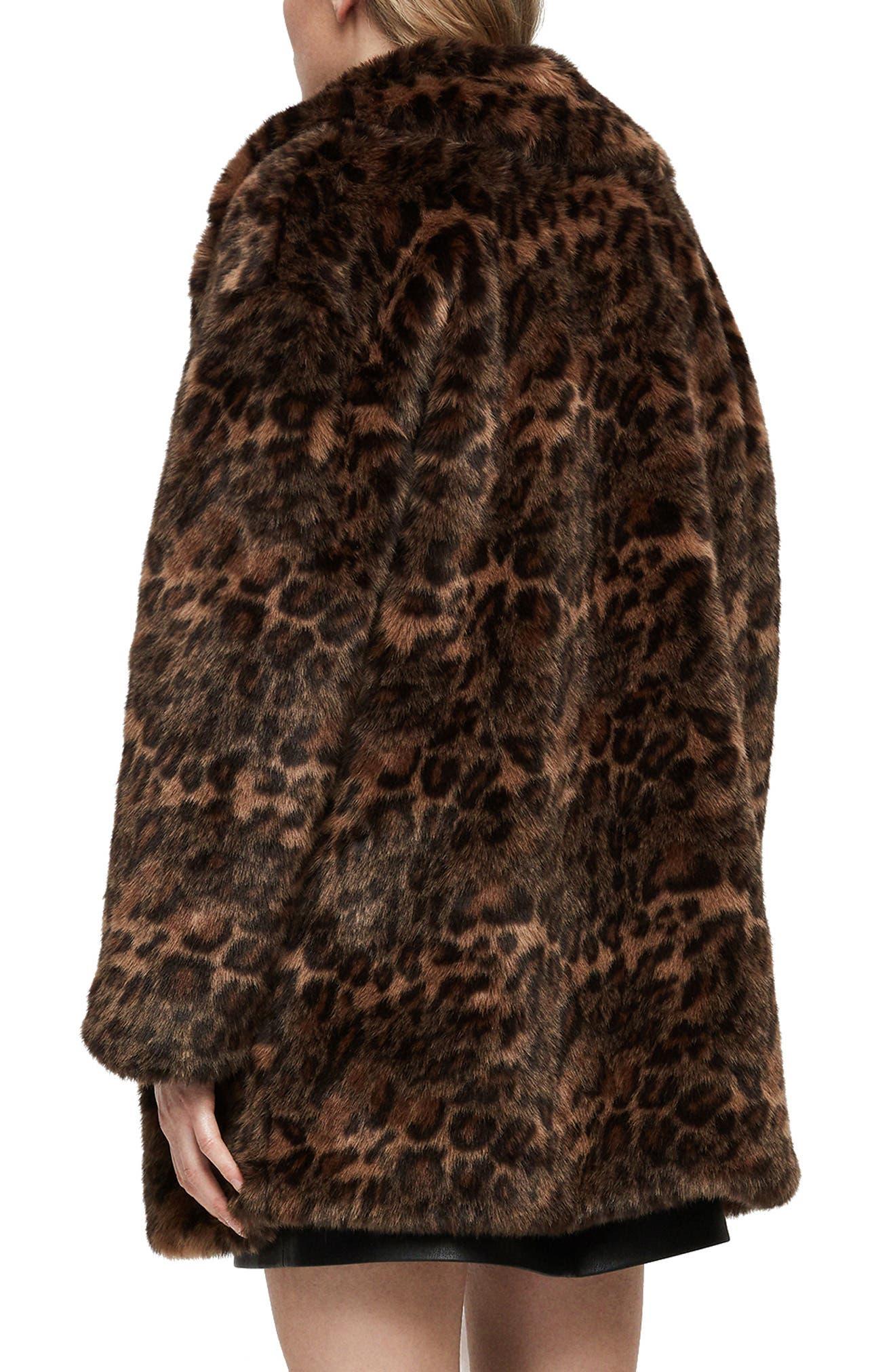 ALLSAINTS, Amice Leopard Spot Faux Fur Jacket, Alternate thumbnail 2, color, 200