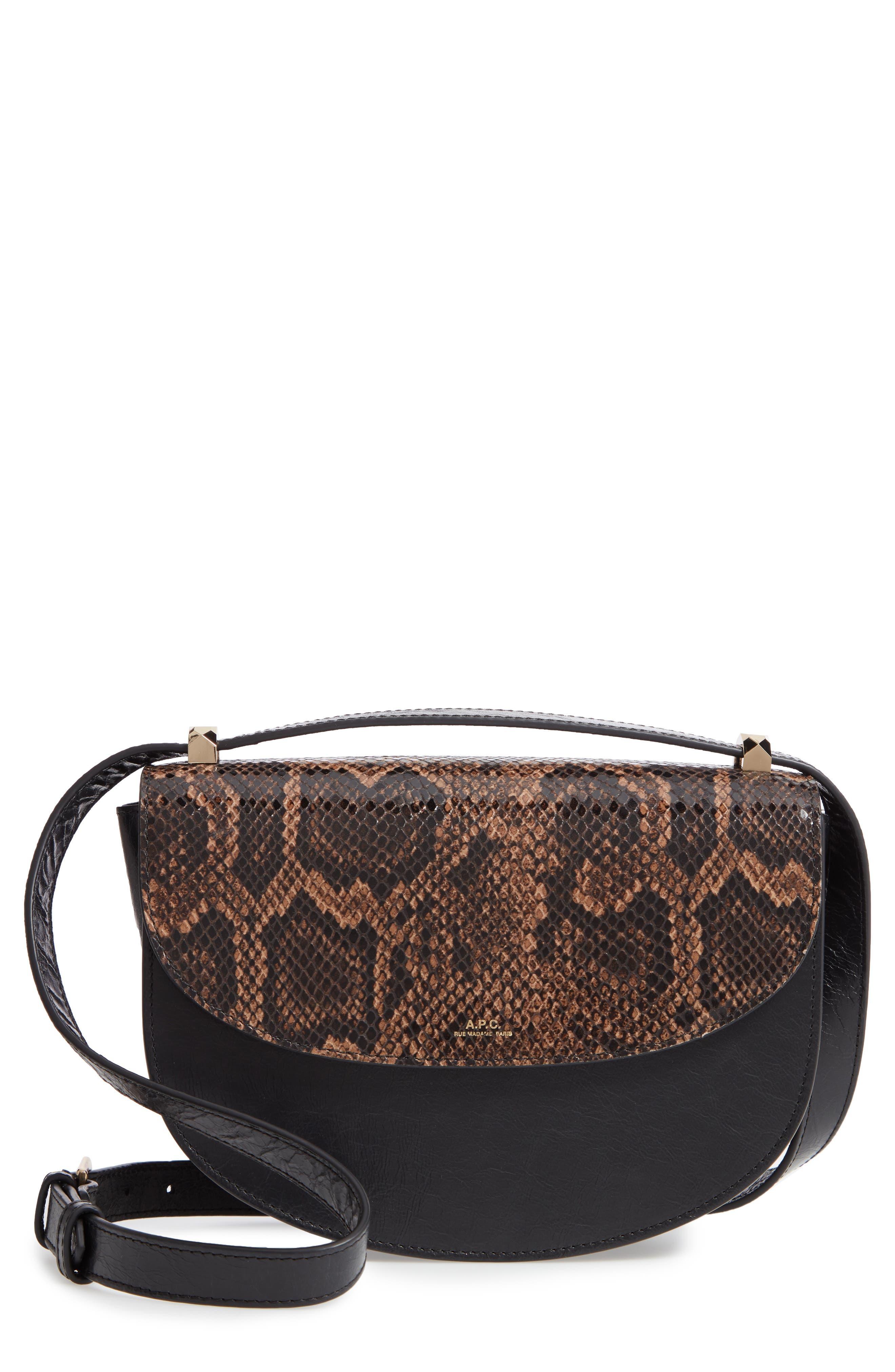 A.P.C., Sac Genève Snake Embossed Leather Shoulder Bag, Main thumbnail 1, color, NOIR