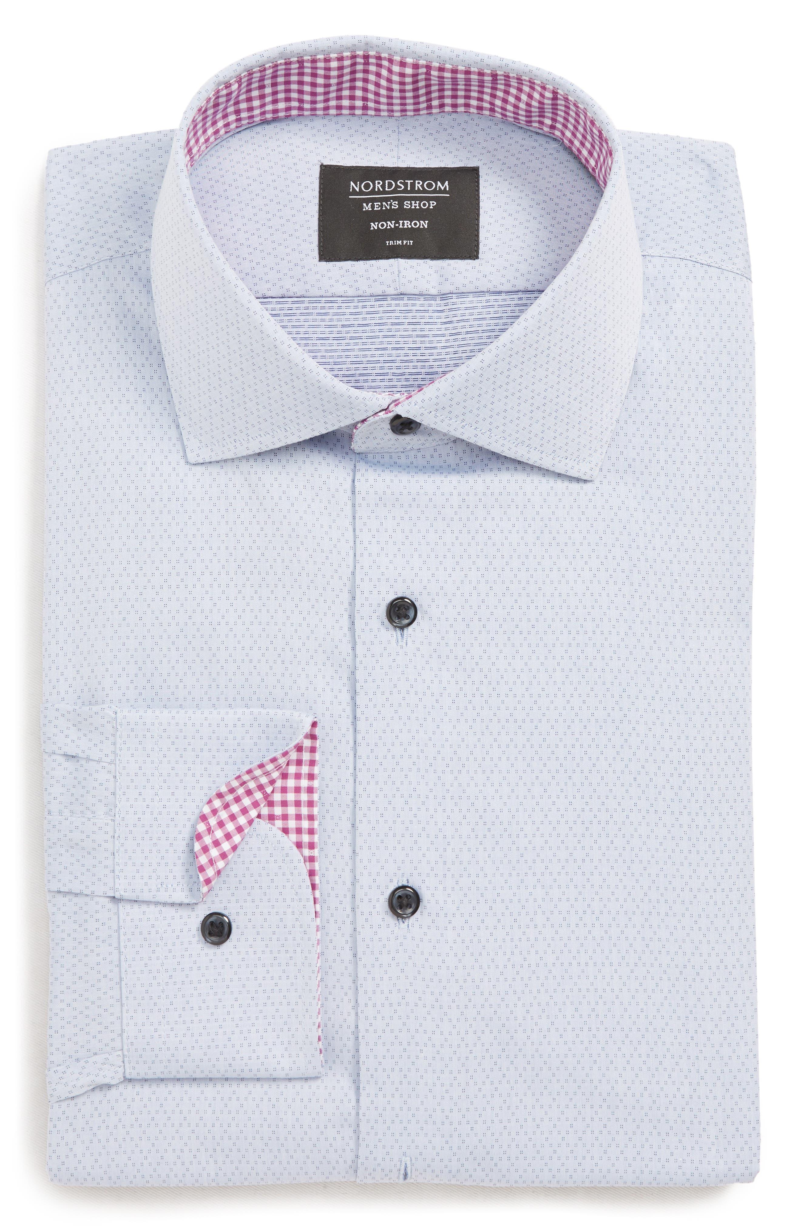 NORDSTROM MEN'S SHOP, Trim Fit Non-Iron Dress Shirt, Main thumbnail 1, color, BLUE CAMP