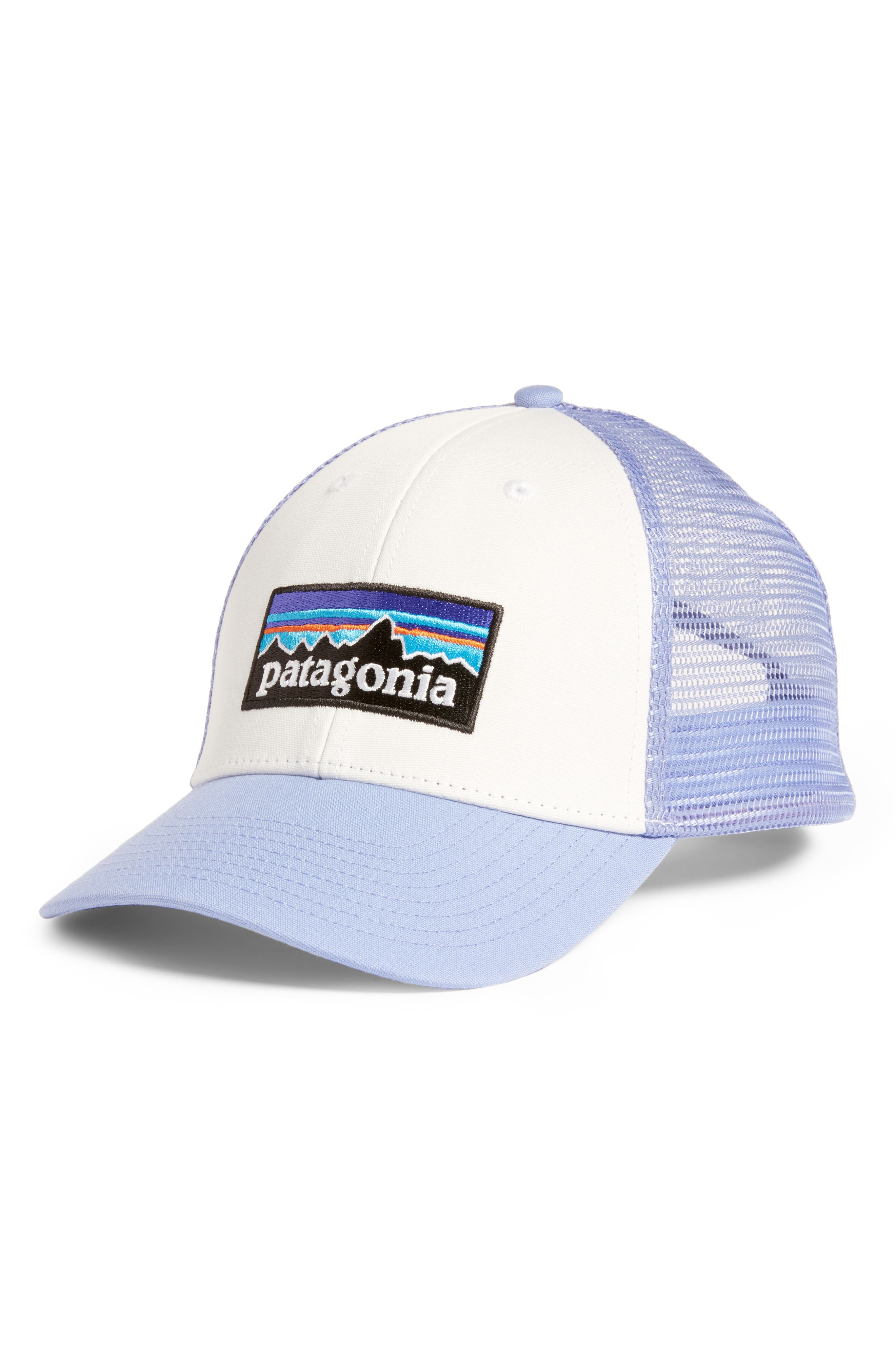 PATAGONIA, P6 LoPro Trucker Hat, Main thumbnail 1, color, WHITE W/ LIGHT VIOLET BLUE