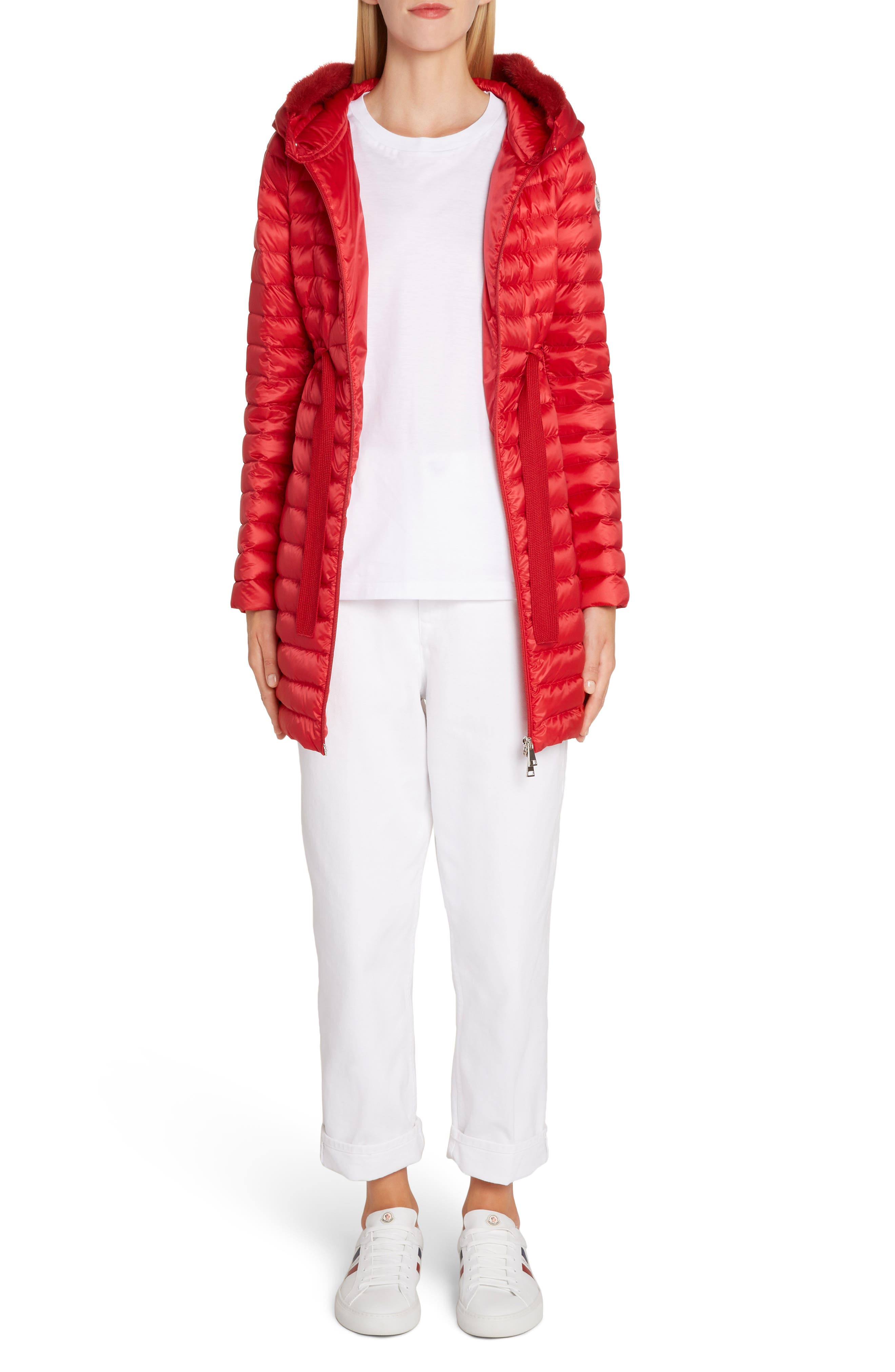 MONCLER, Barbel Quilted Down Coat with Genuine Mink Fur Trim, Alternate thumbnail 6, color, RED