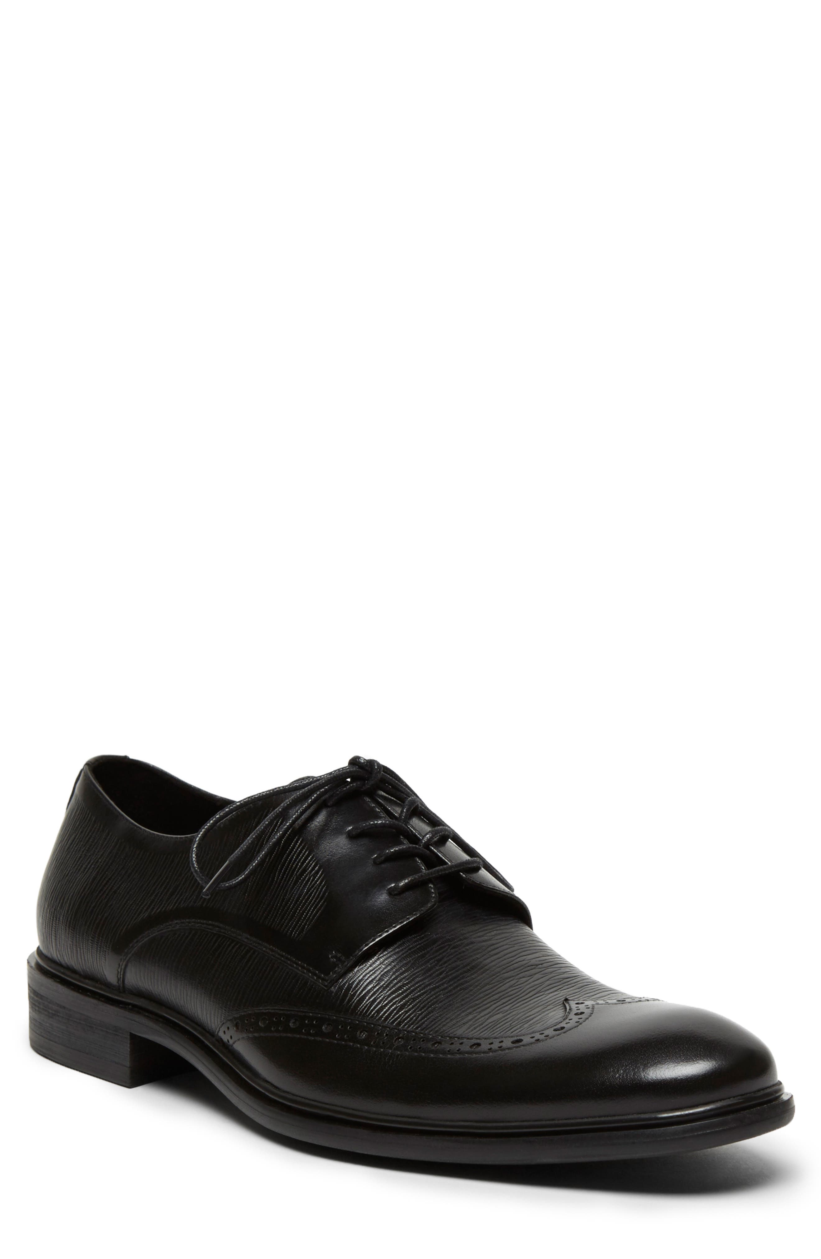 KENNETH COLE NEW YORK, Garner Saffiano Wingtip Derby, Main thumbnail 1, color, BLACK LEATHER