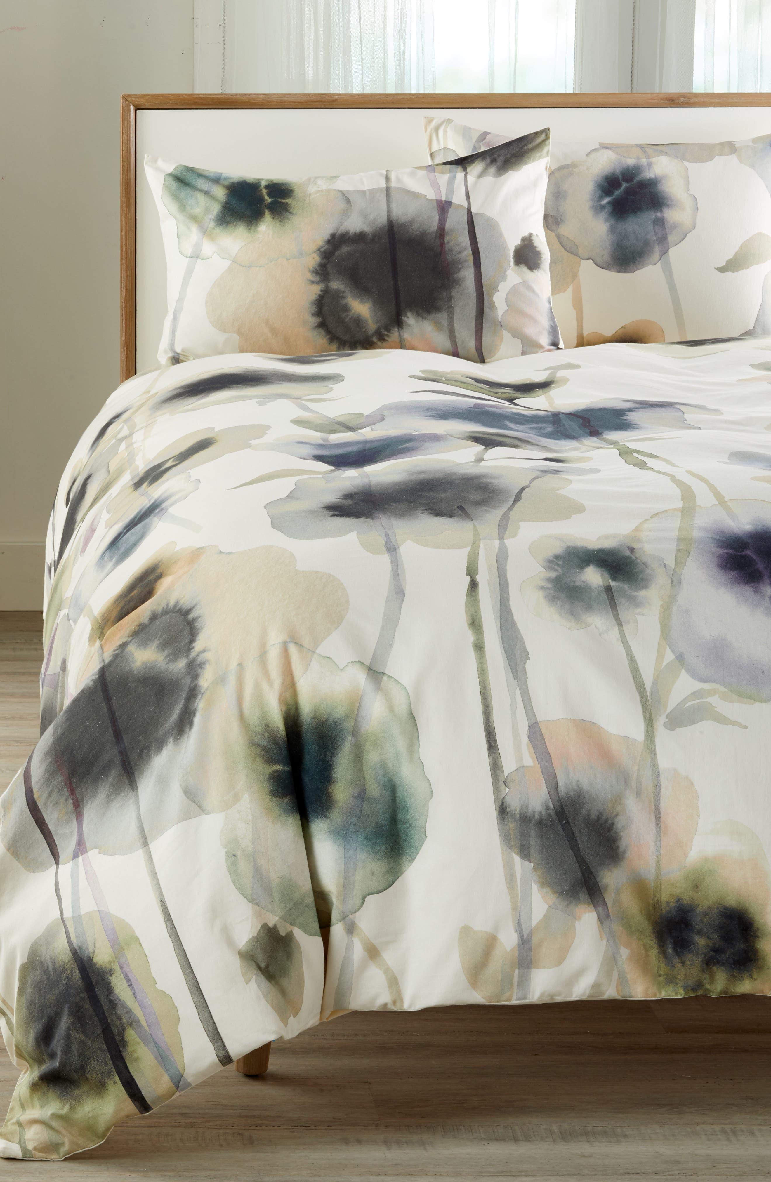 TREASURE & BOND Floral Print Duvet Cover, Main, color, WHITE WHISPER