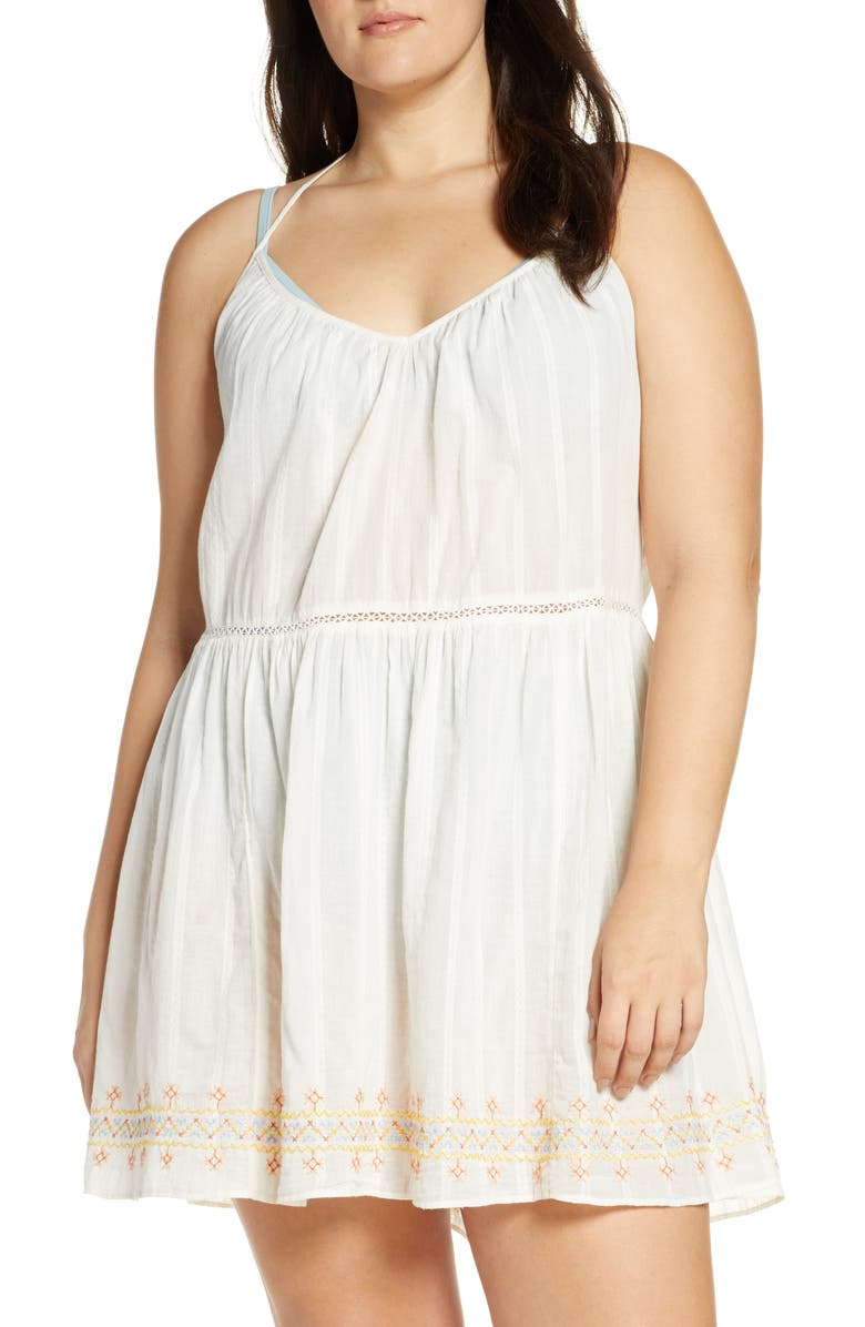 ae1d344907 Madewell Embroidered Racerback Cover-Up Dress In White Rainbow Stitch