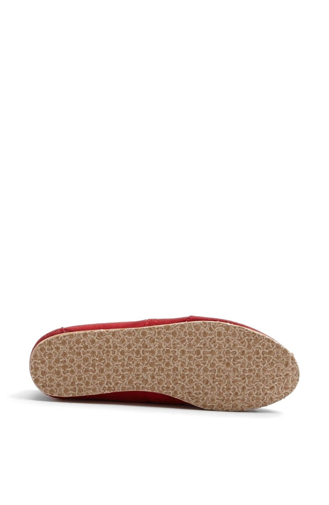 TOMS, Classic Canvas Slip-On, Alternate thumbnail 3, color, RED