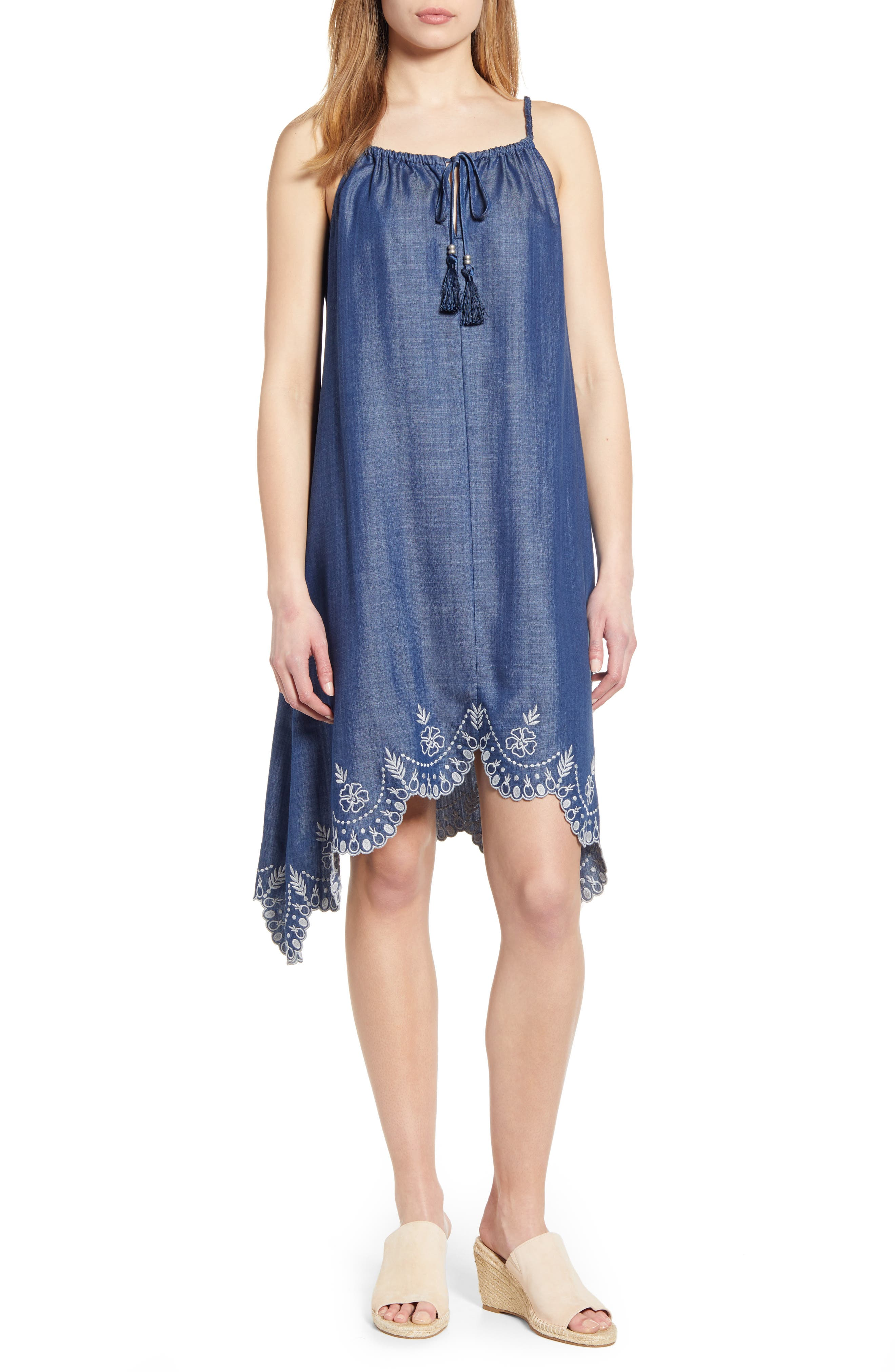Tommy Bahama Chambray All Day Embroidered Sundress, Blue