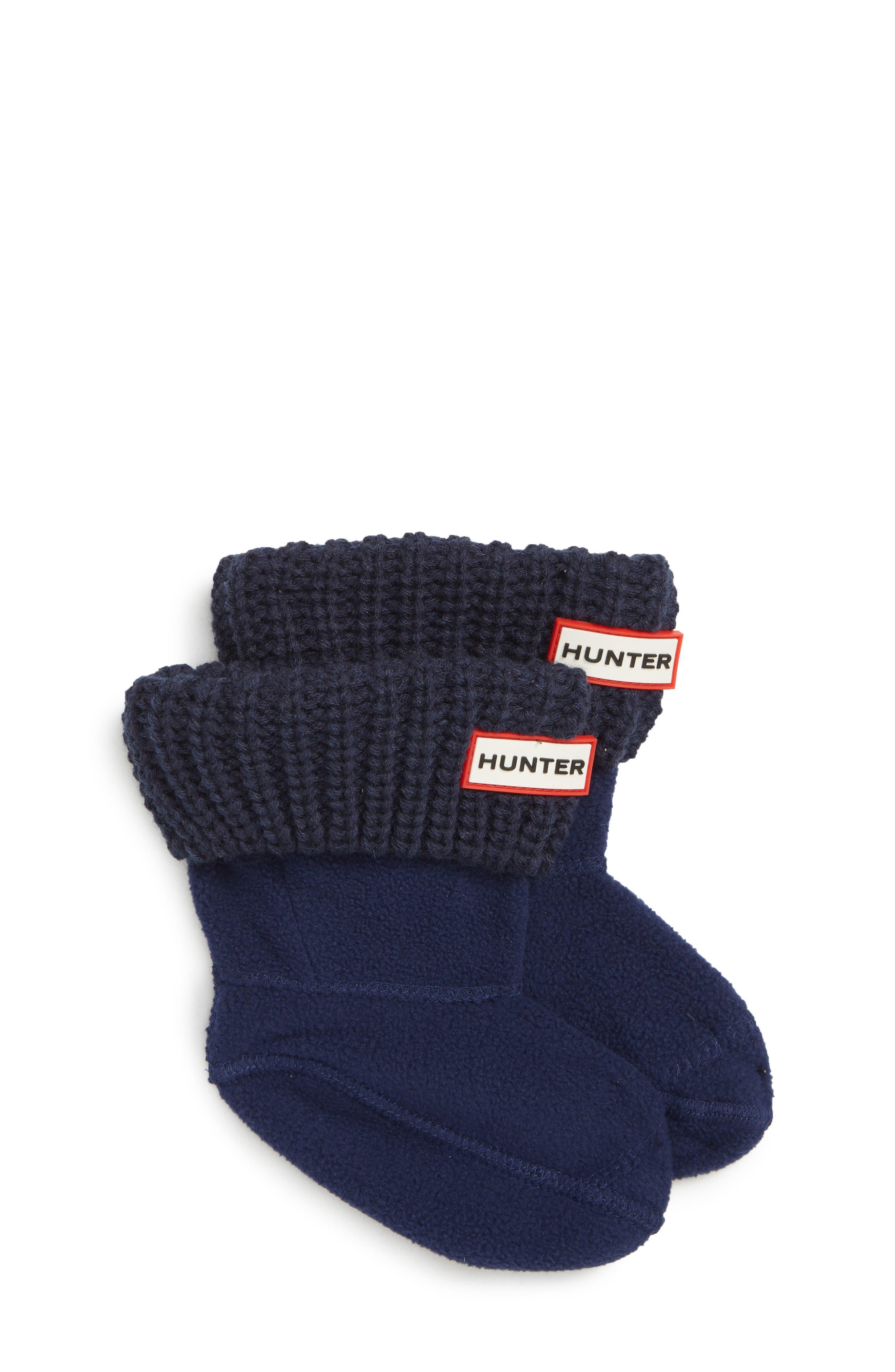 HUNTER, Cardigan Knit Cuff Welly Boot Socks, Main thumbnail 1, color, NAVY