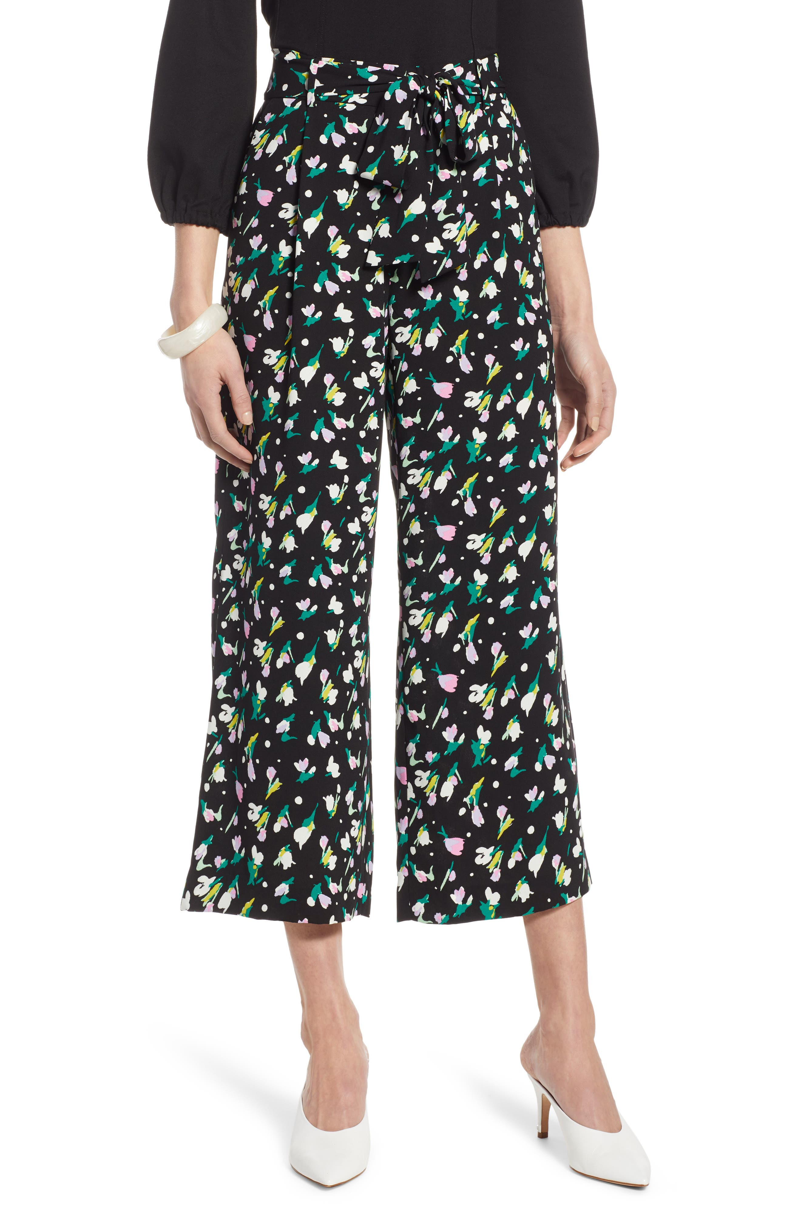 HALOGEN<SUP>®</SUP>, Wide Leg Crop Pants, Main thumbnail 1, color, BLACK TINY TULIP PRINT