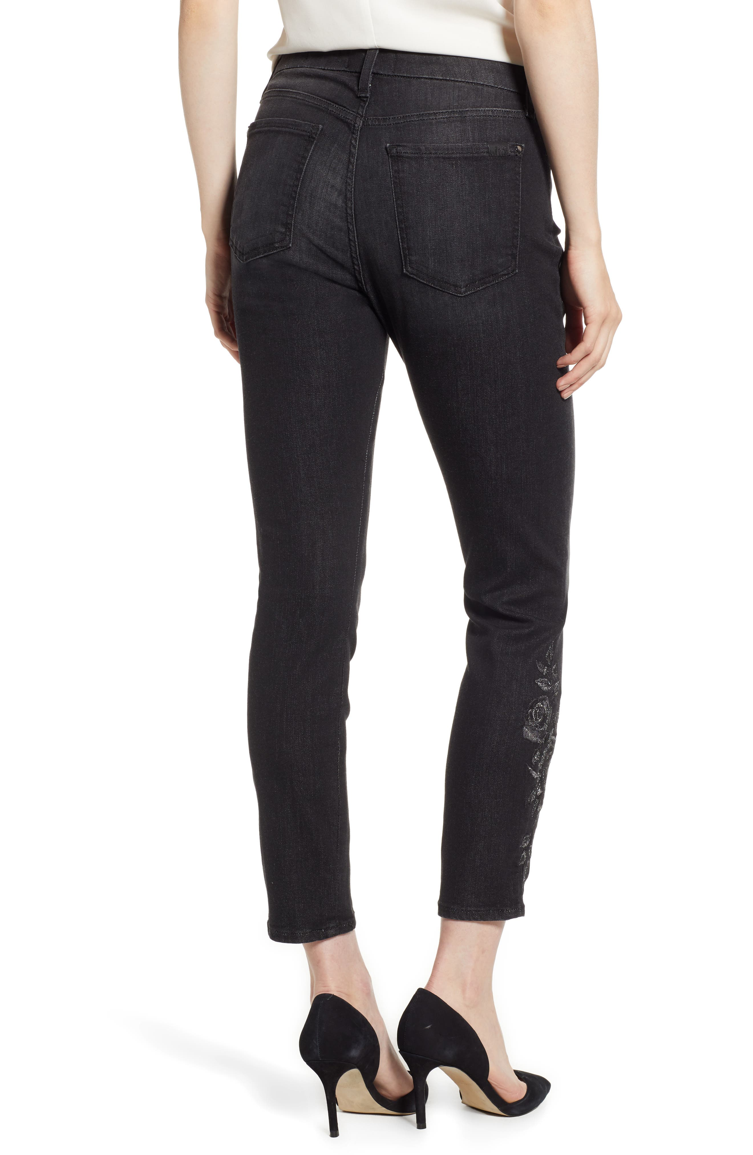 JEN7 BY 7 FOR ALL MANKIND, Embroidered Ankle Skinny Jeans, Alternate thumbnail 2, color, RICHE TOUCH AGED BLACK