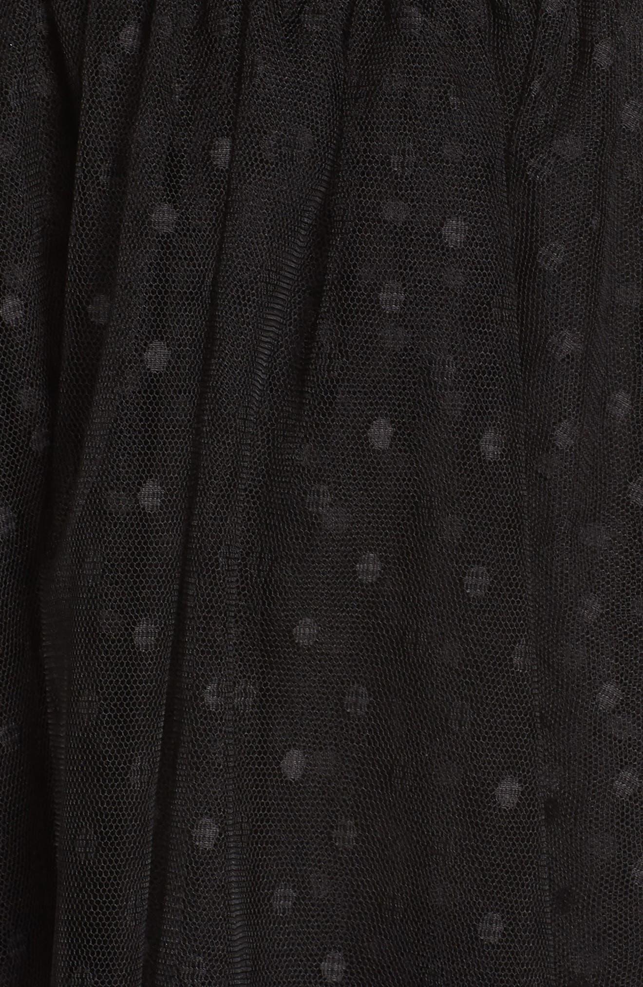 AVEC LES FILLES, Tiered Tulle Dress, Alternate thumbnail 6, color, BLACK