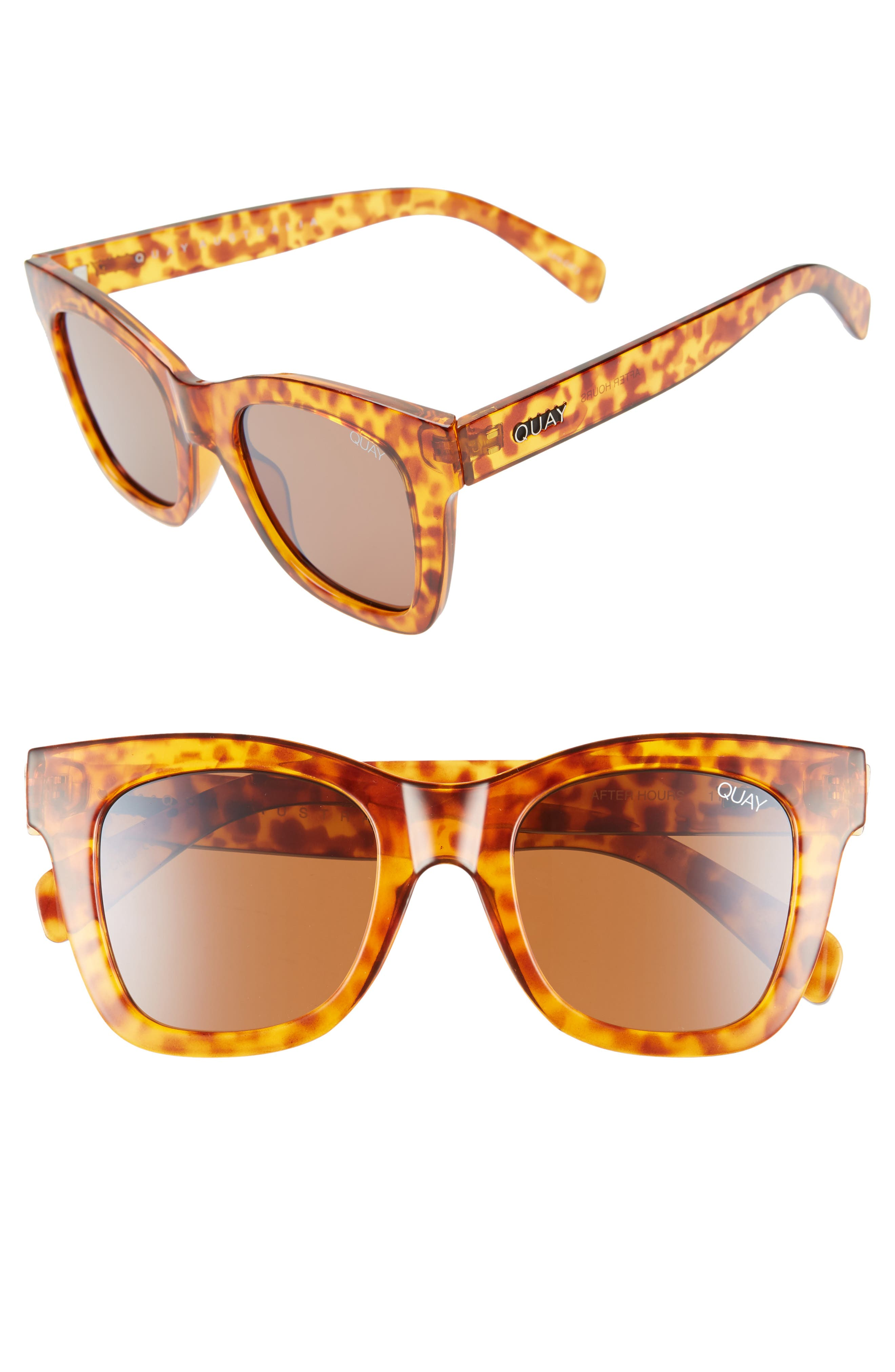 QUAY AUSTRALIA, After Hours 50mm Square Sunglasses, Main thumbnail 1, color, ORANGE TORT / BROWN