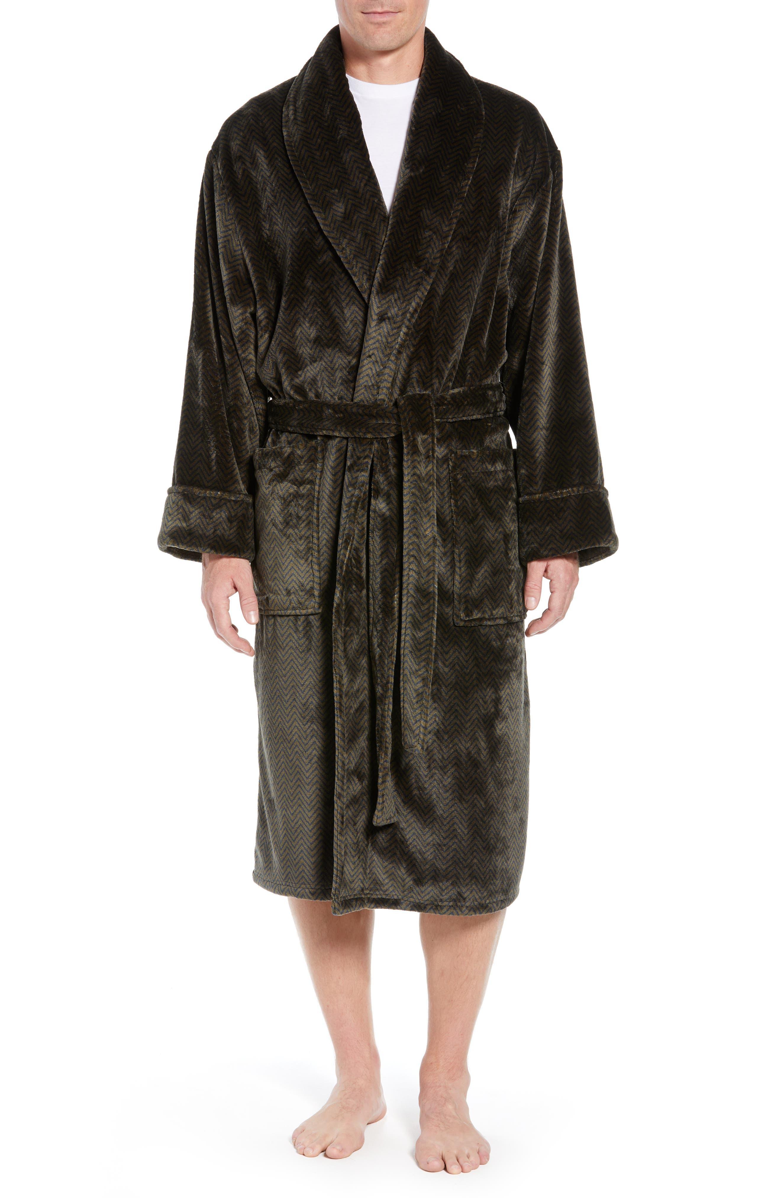 DANIEL BUCHLER, Chevron Fleece Robe, Main thumbnail 1, color, ARMY/ MIDNIGHT