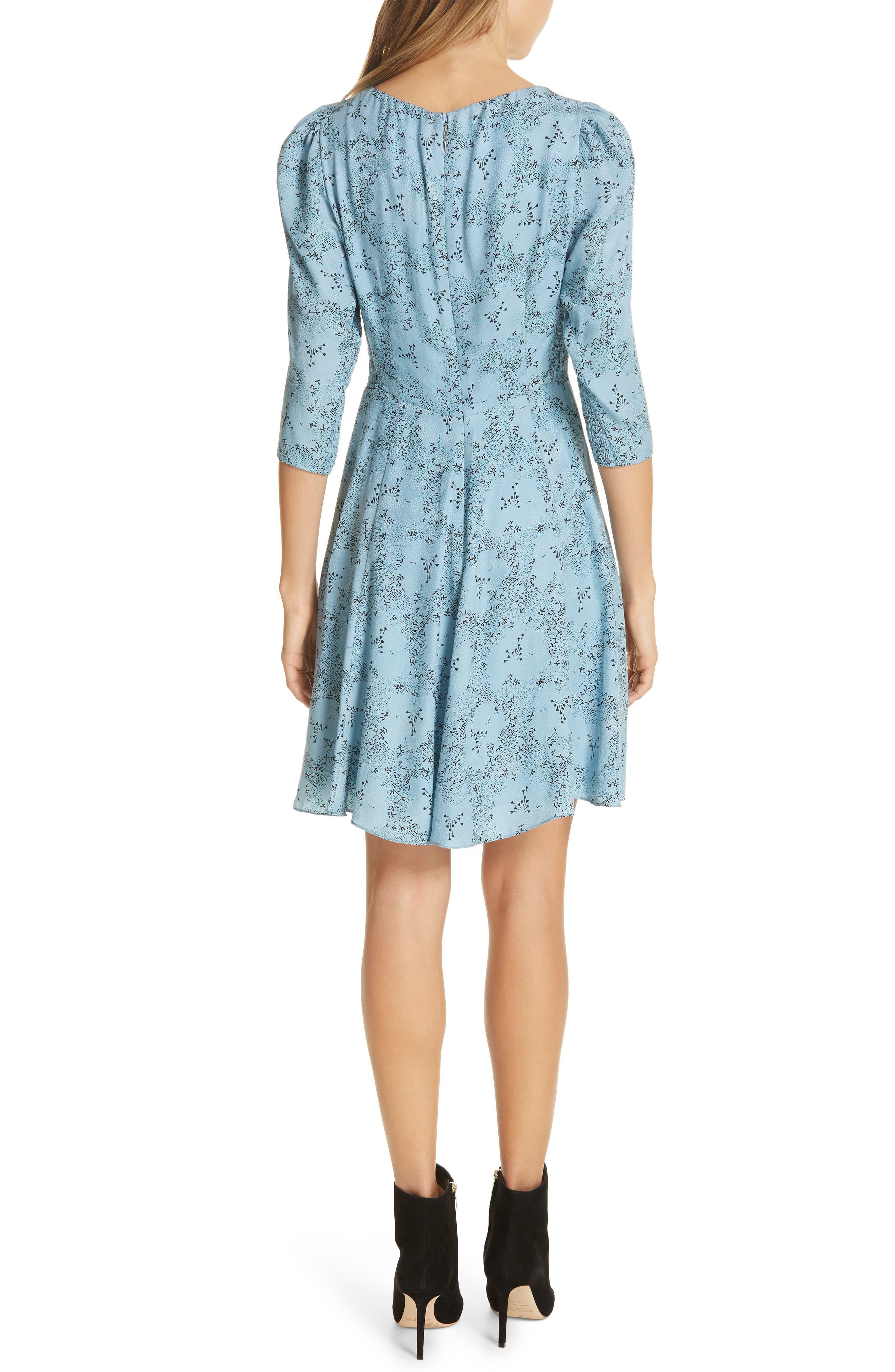 REBECCA TAYLOR, Gianna Floral Silk Dress, Alternate thumbnail 2, color, LAGOON COMBO