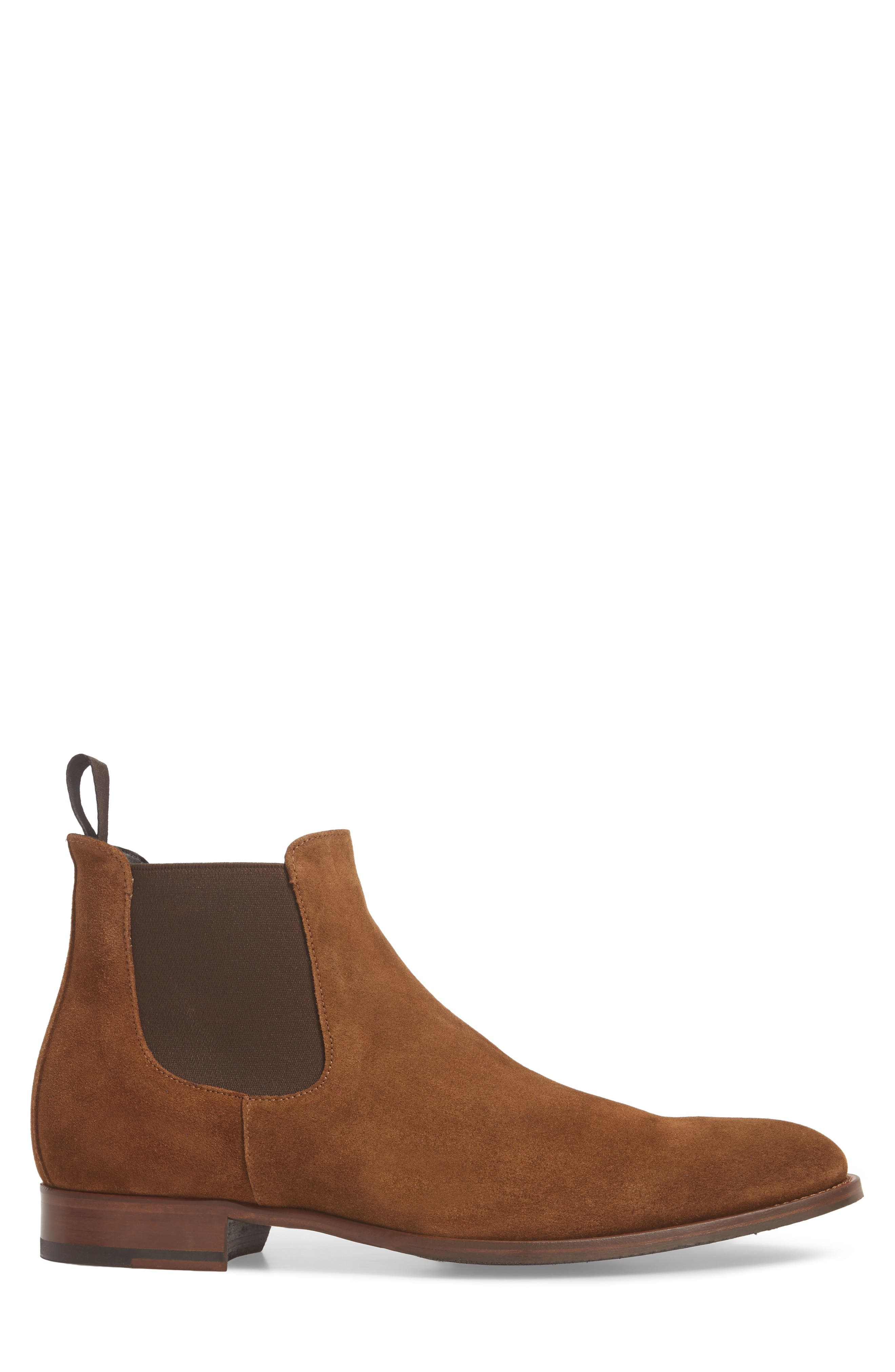 TO BOOT NEW YORK, Shelby Mid Chelsea Boot, Alternate thumbnail 3, color, MID BROWN SUEDE