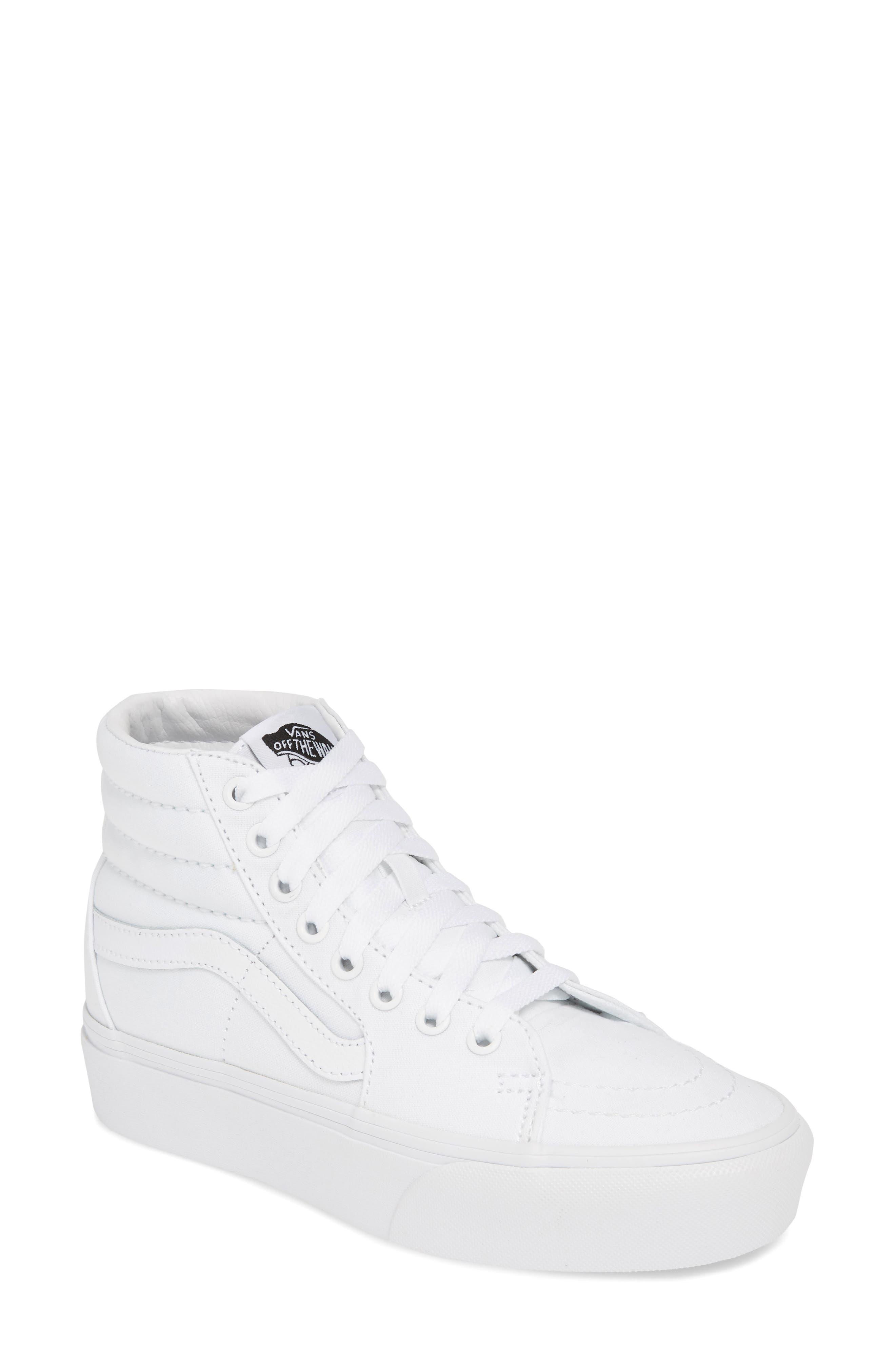 VANS, Sk8-Hi Platform Sneaker, Main thumbnail 1, color, TRUE WHITE/ TRUE WHITE