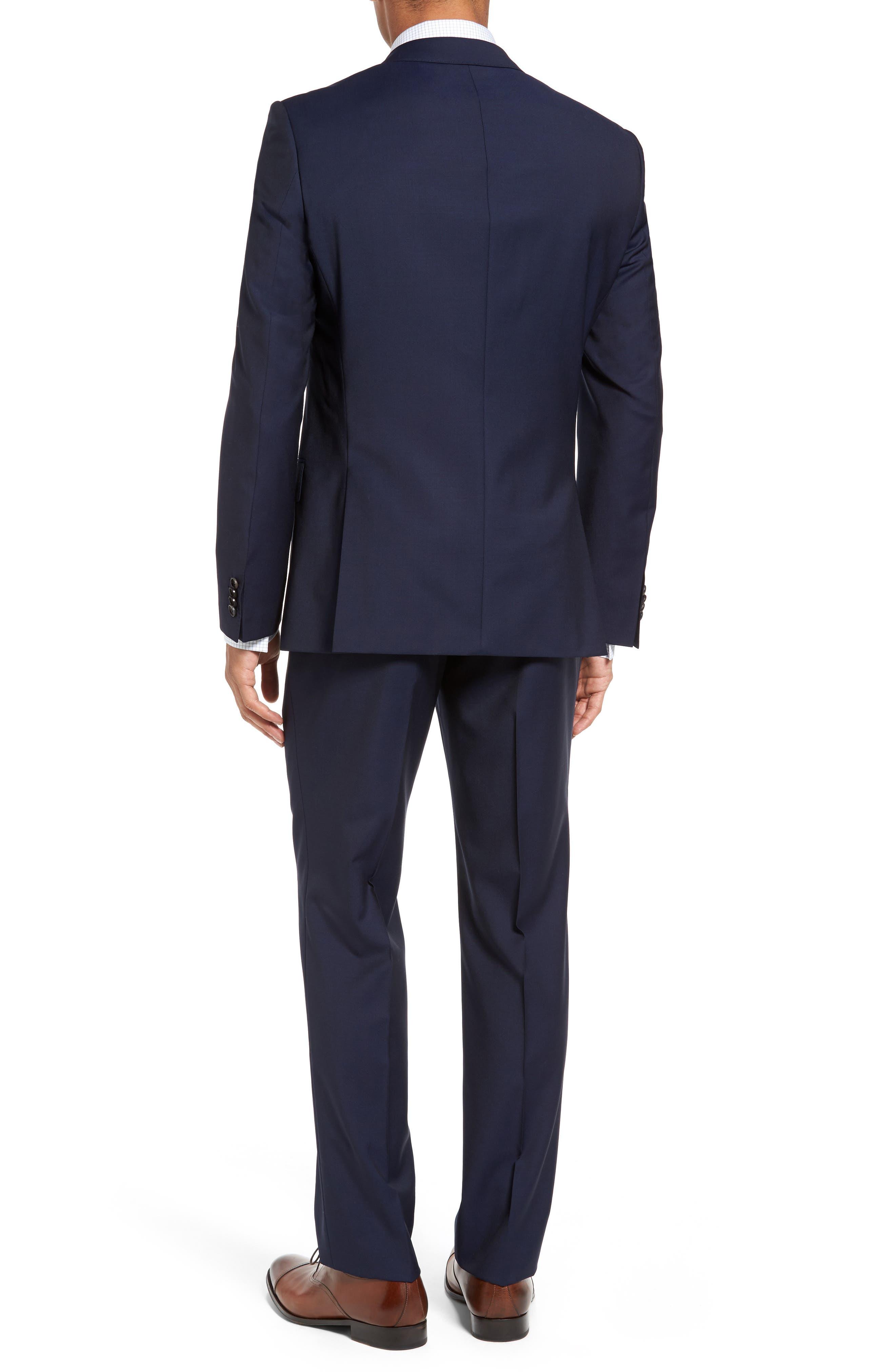 BOSS, Huge/Genius Trim Fit Navy Wool Suit, Alternate thumbnail 2, color, 410