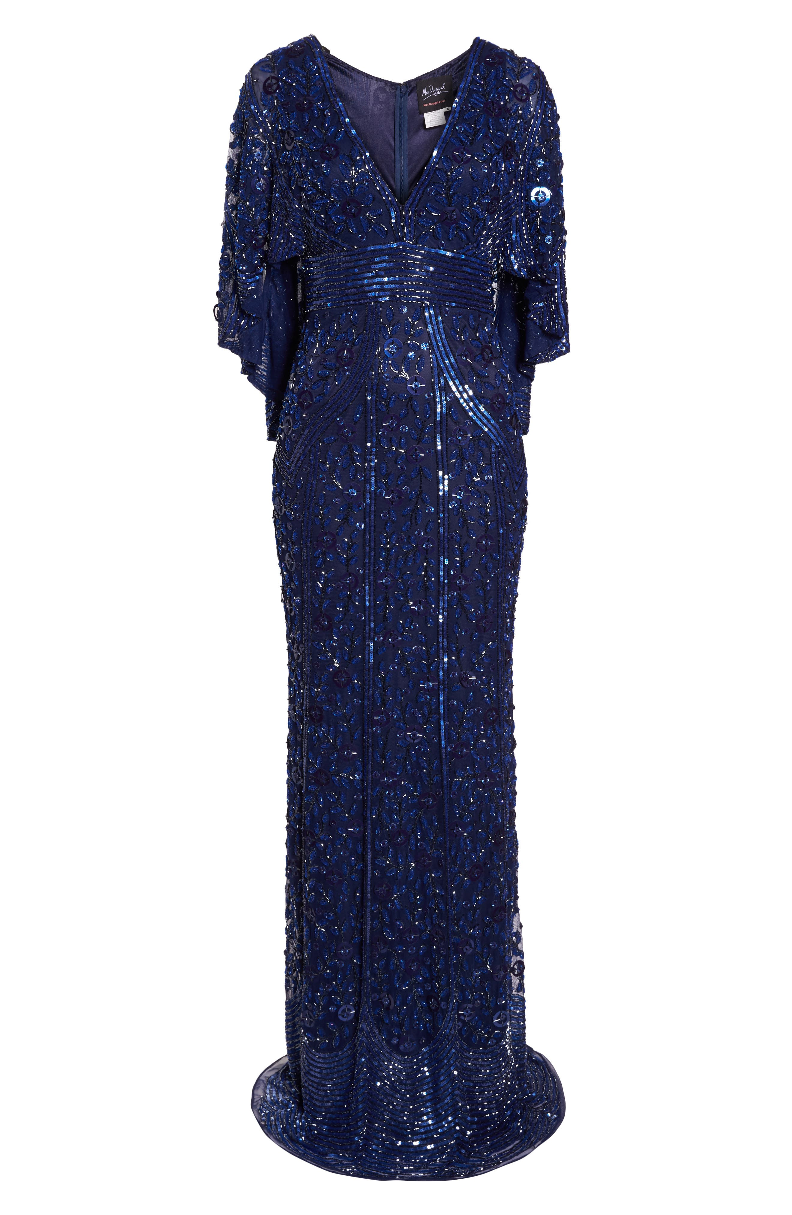 MAC DUGGAL, Sequin Cape Sleeve Evening Dress, Alternate thumbnail 7, color, MIDNIGHT