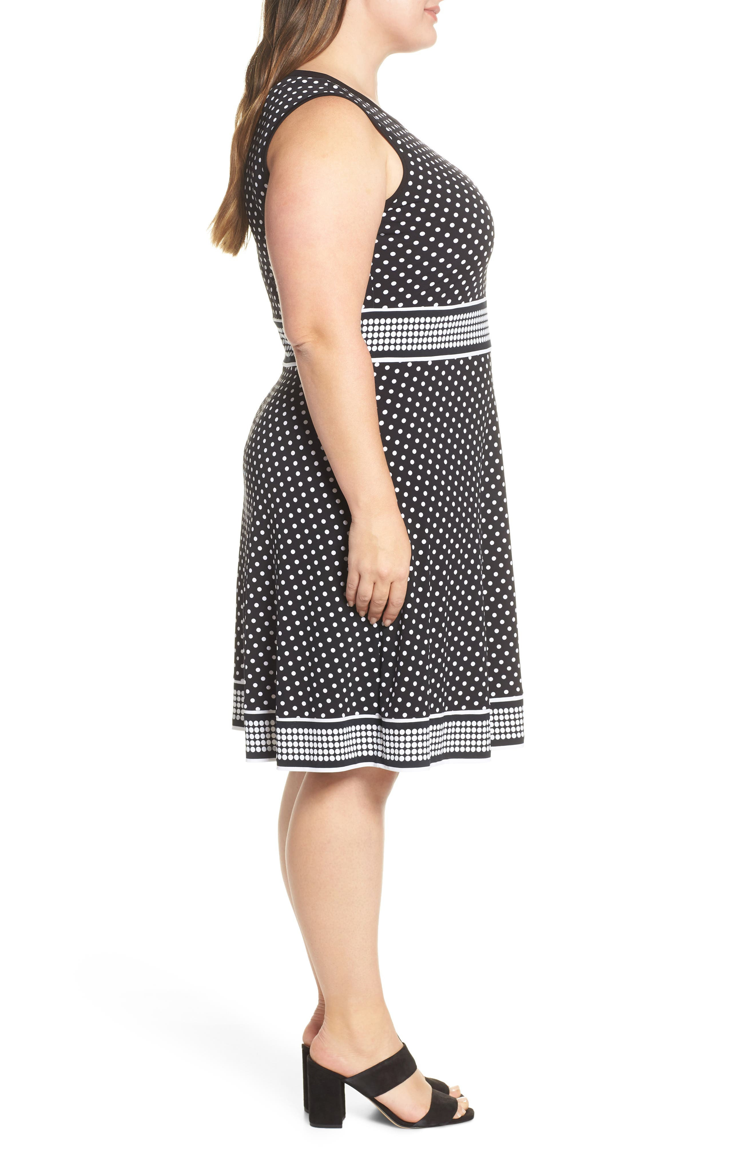 MICHAEL MICHAEL KORS, Mixed Polka Dot Dress, Alternate thumbnail 4, color, BLACK/ WHITE