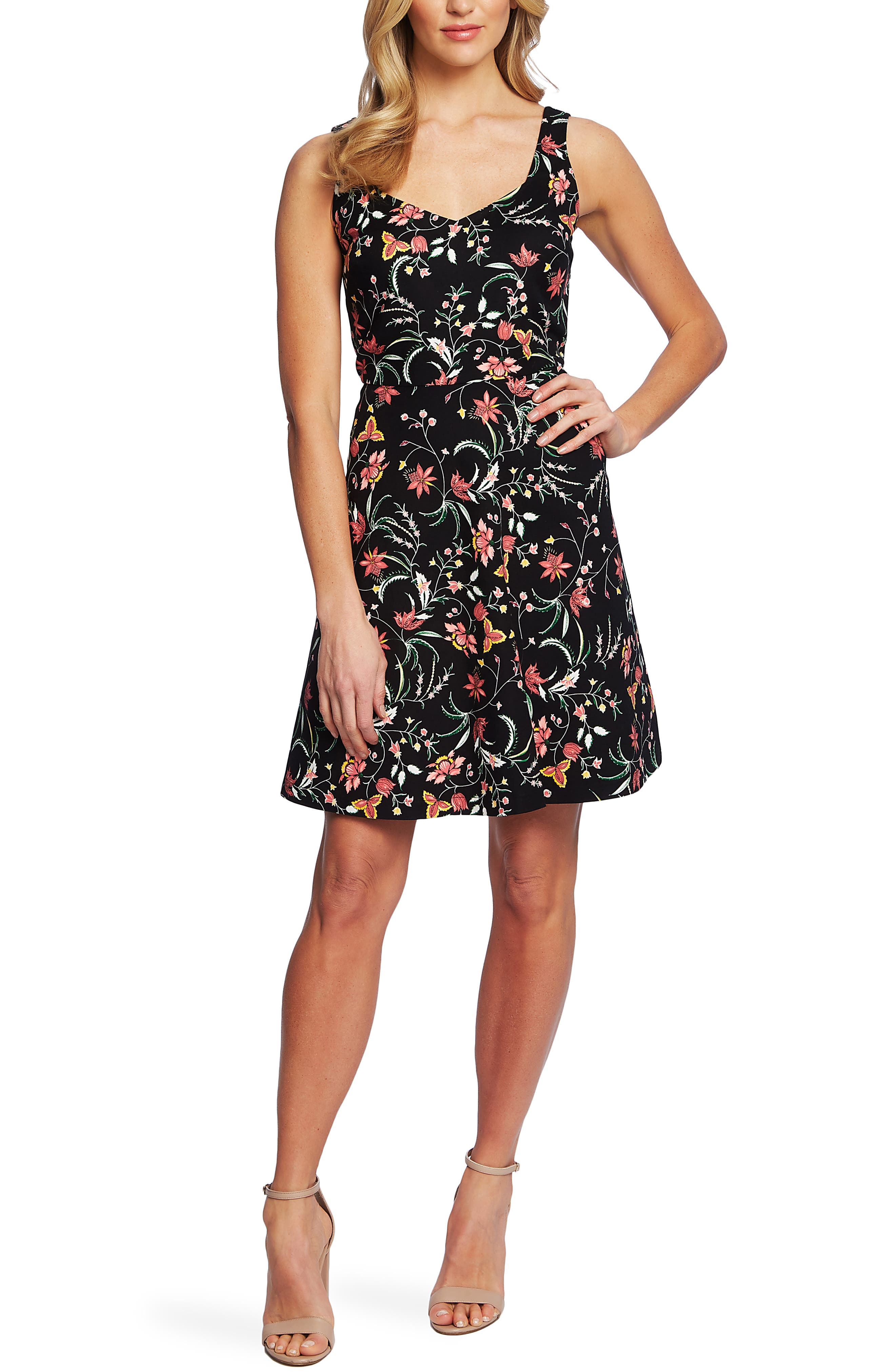 Cece Marrakesh Ink Floral Print Sleeveless Stretch Cotton Dress, Black