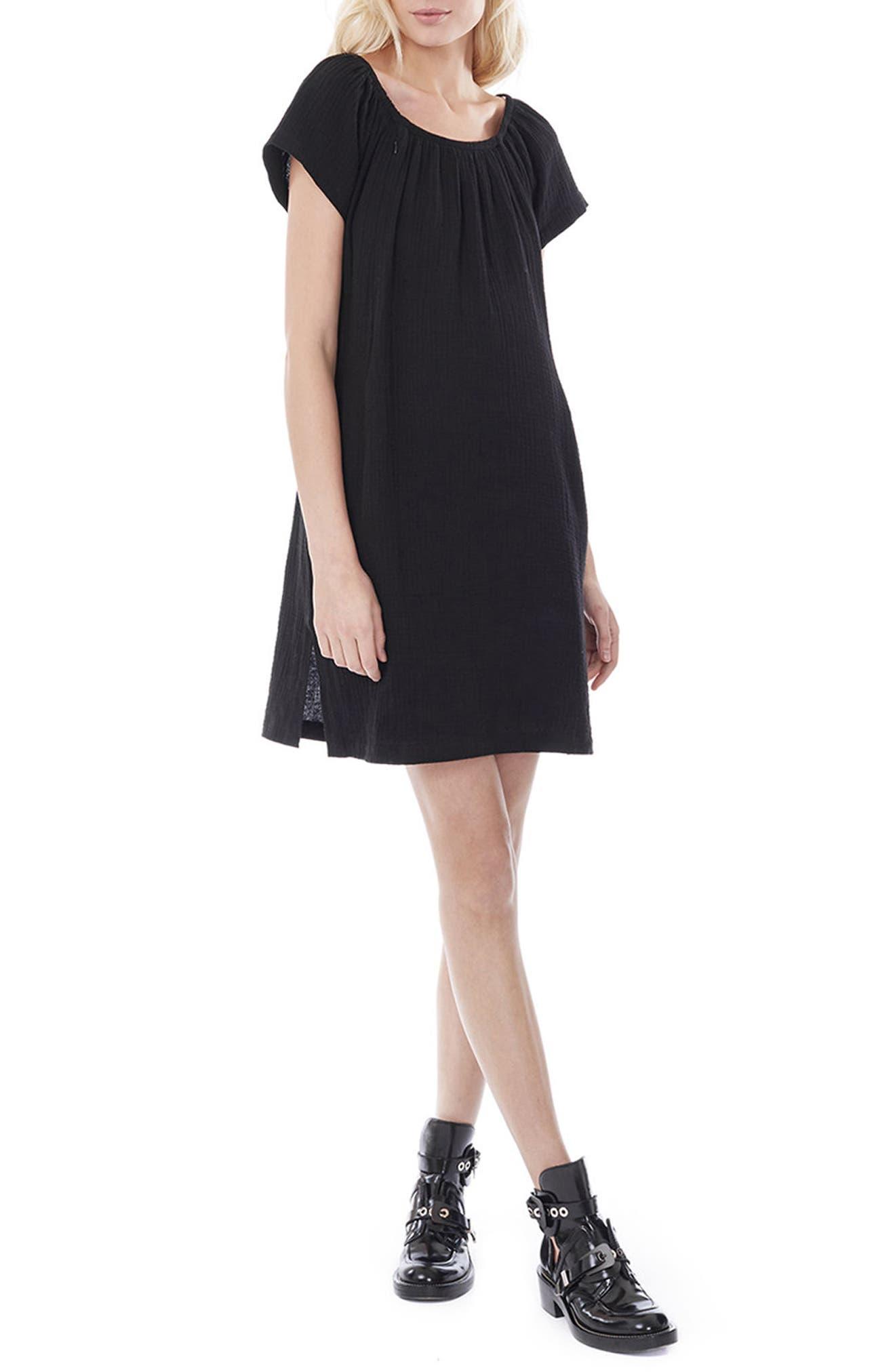 LOYAL HANA, Ariel Off The Shoulder Maternity/Nursing Dress, Alternate thumbnail 3, color, BLACK