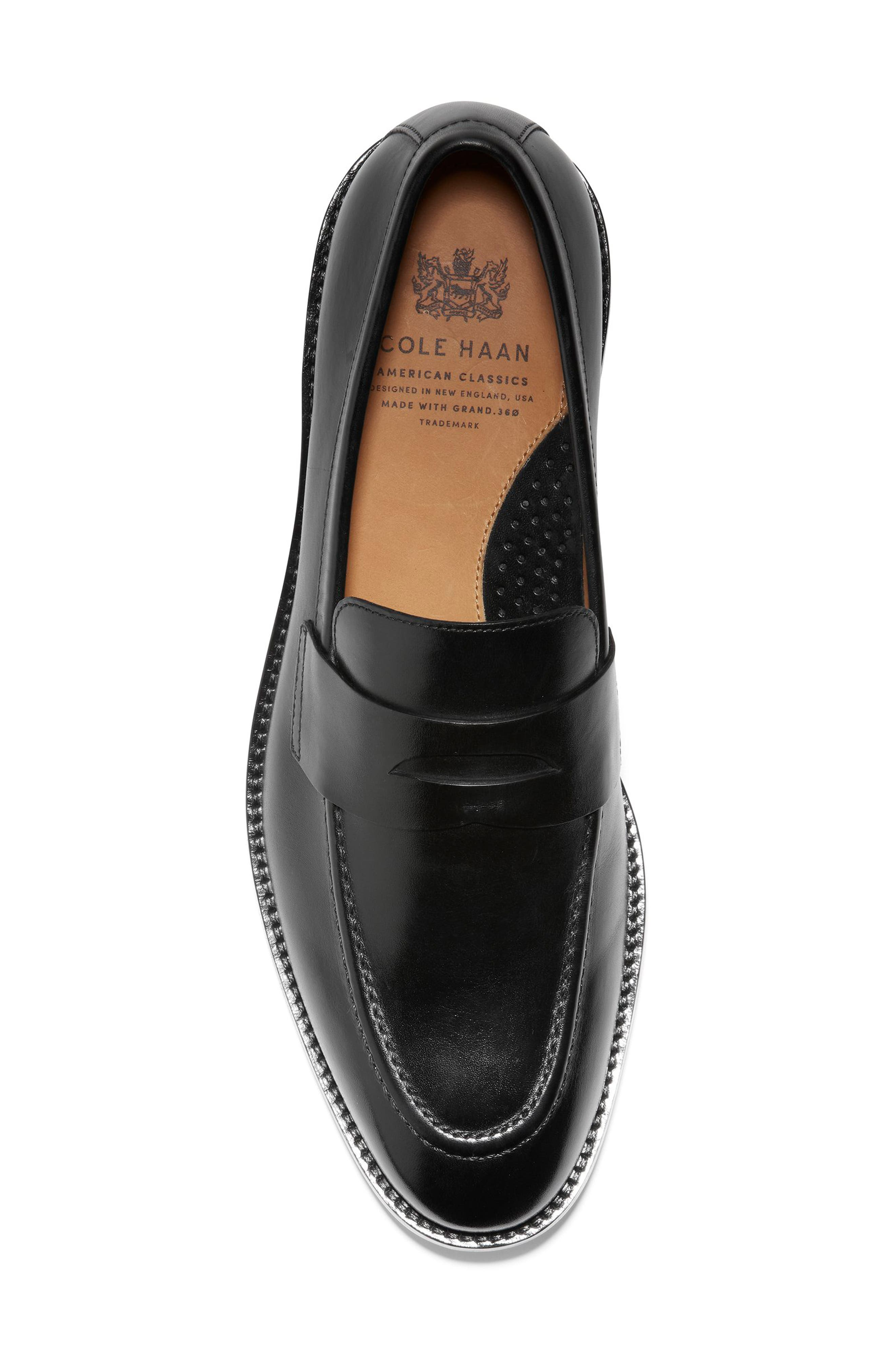 COLE HAAN, American Classics Kneeland Penny Loafer, Alternate thumbnail 5, color, BLACK LEATHER