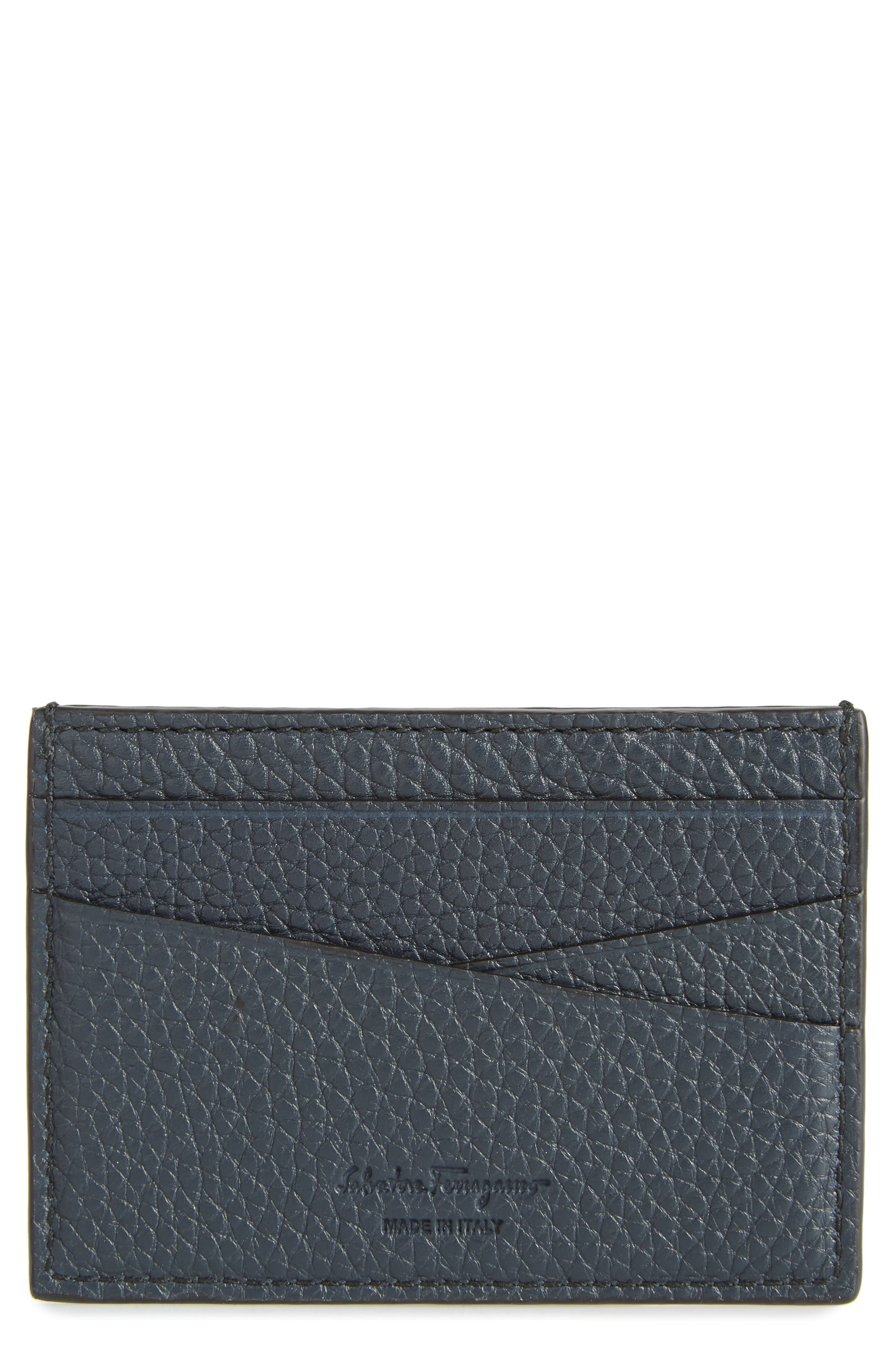 SALVATORE FERRAGAMO, New Firenze Leather Card Case, Main thumbnail 1, color, NAVY/NERO