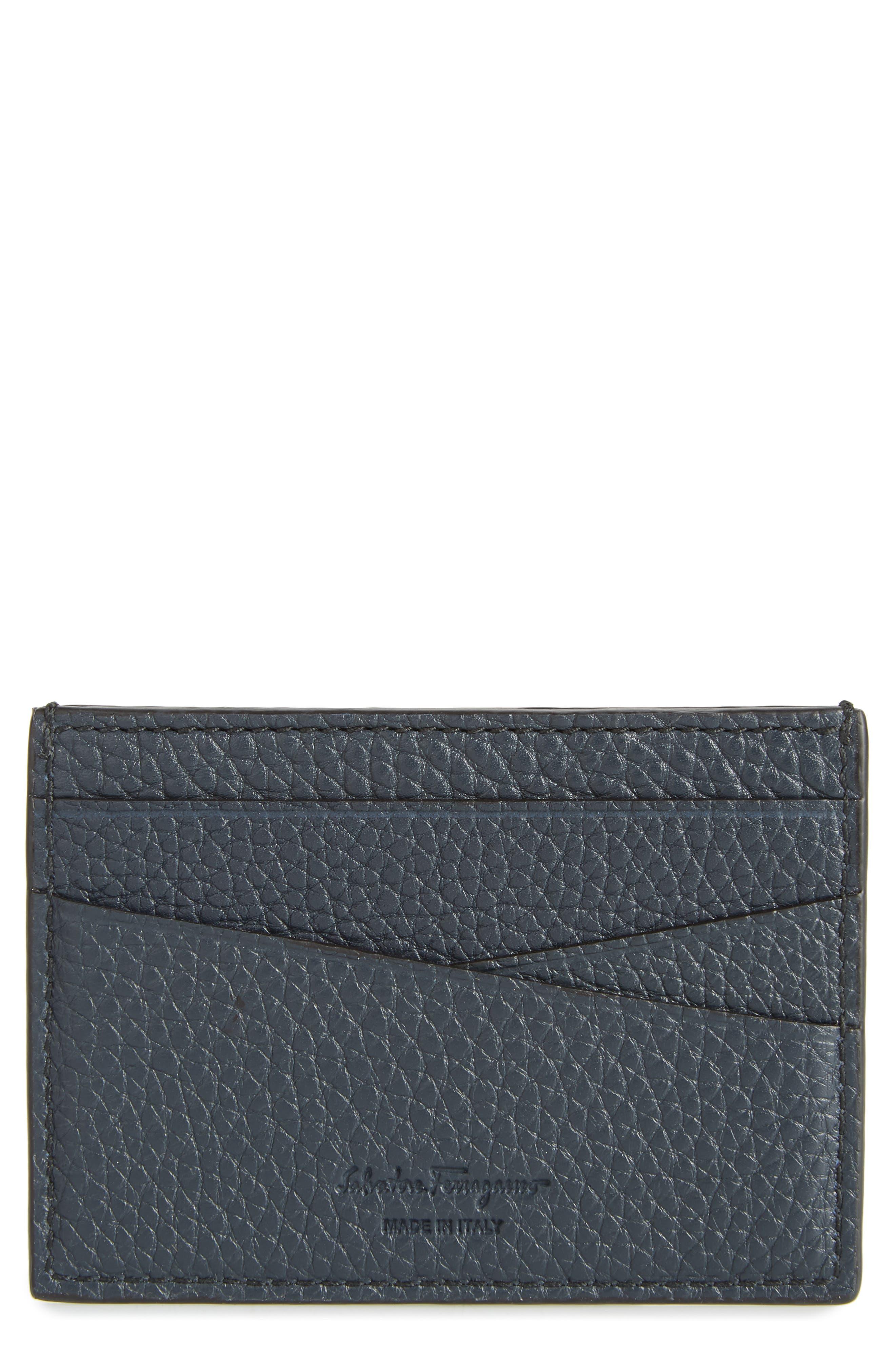 SALVATORE FERRAGAMO New Firenze Leather Card Case, Main, color, NAVY/NERO
