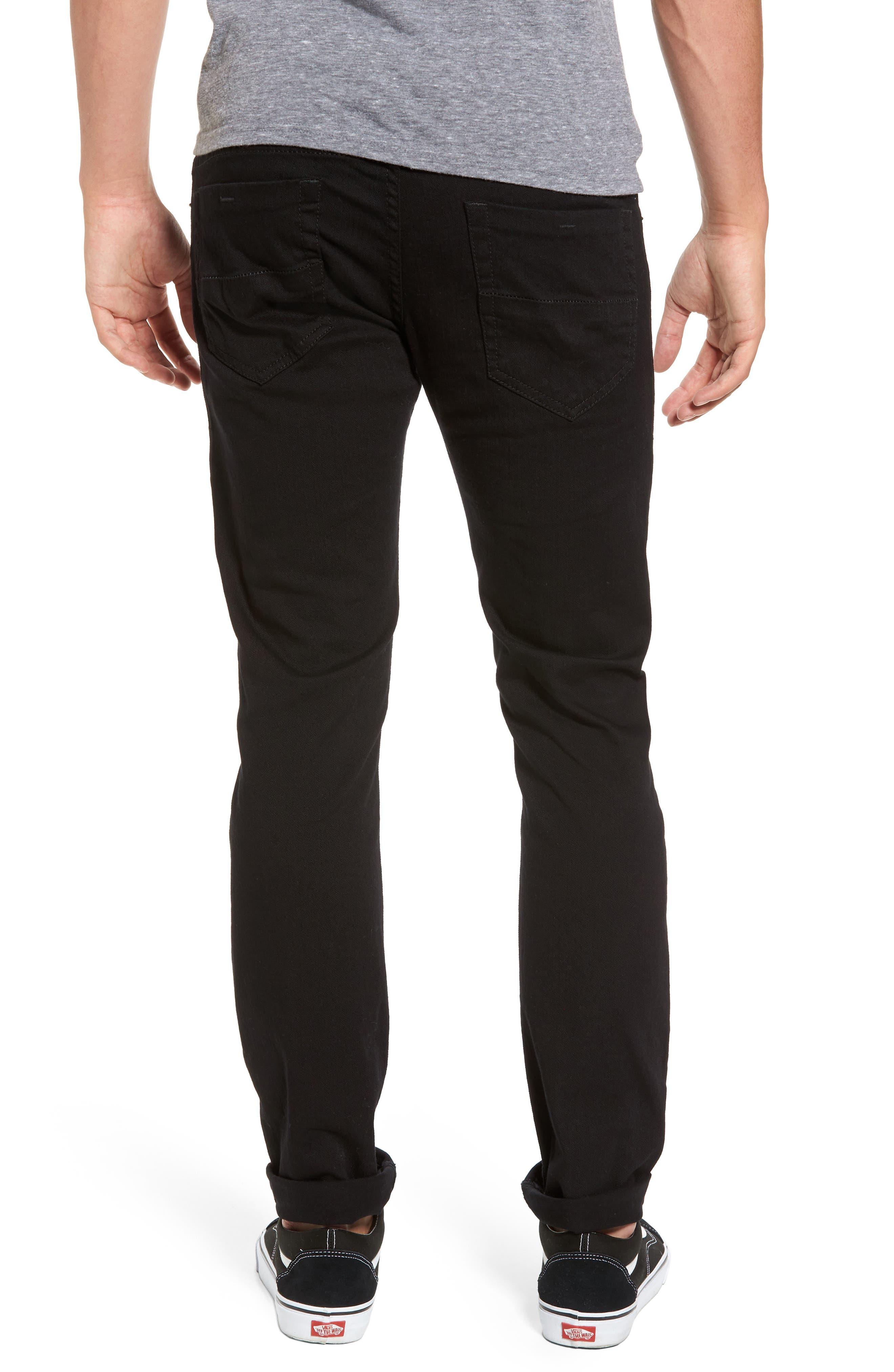 DIESEL<SUP>®</SUP>, Thommer Slim Fit Jeans, Alternate thumbnail 2, color, BLACK/ DENIM