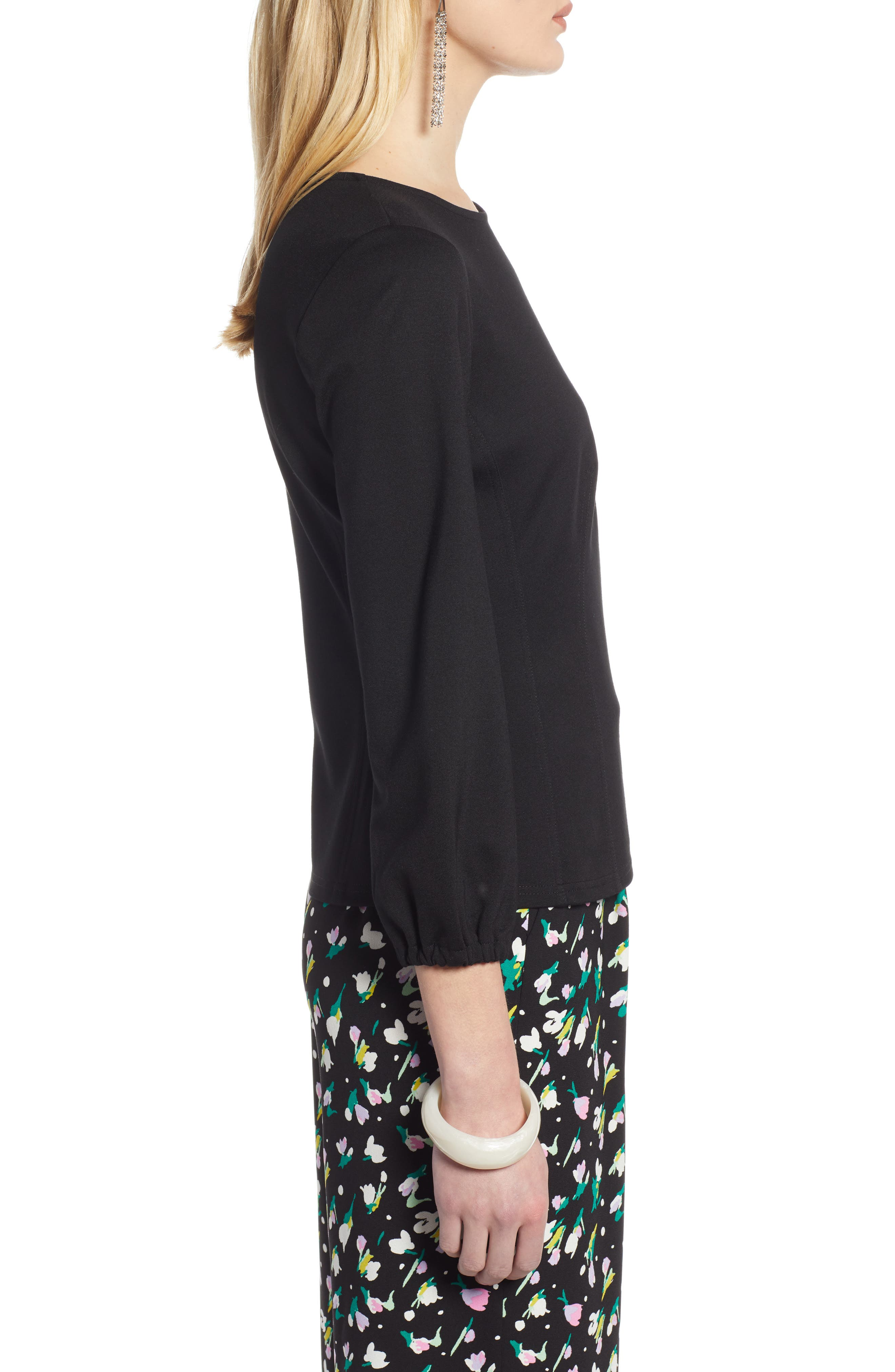 HALOGEN<SUP>®</SUP>, Structured Stretch Knit Top, Alternate thumbnail 3, color, BLACK