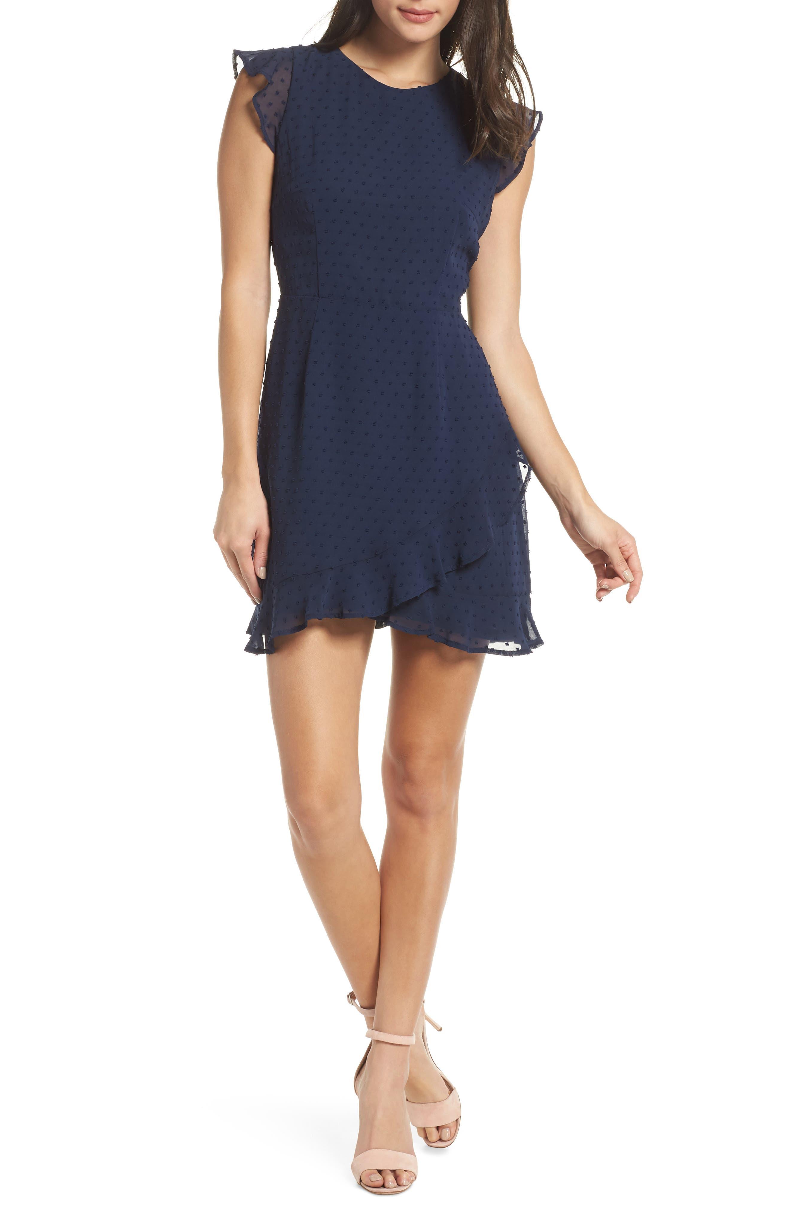19 COOPER Swiss Dot Ruffle Dress, Main, color, 410