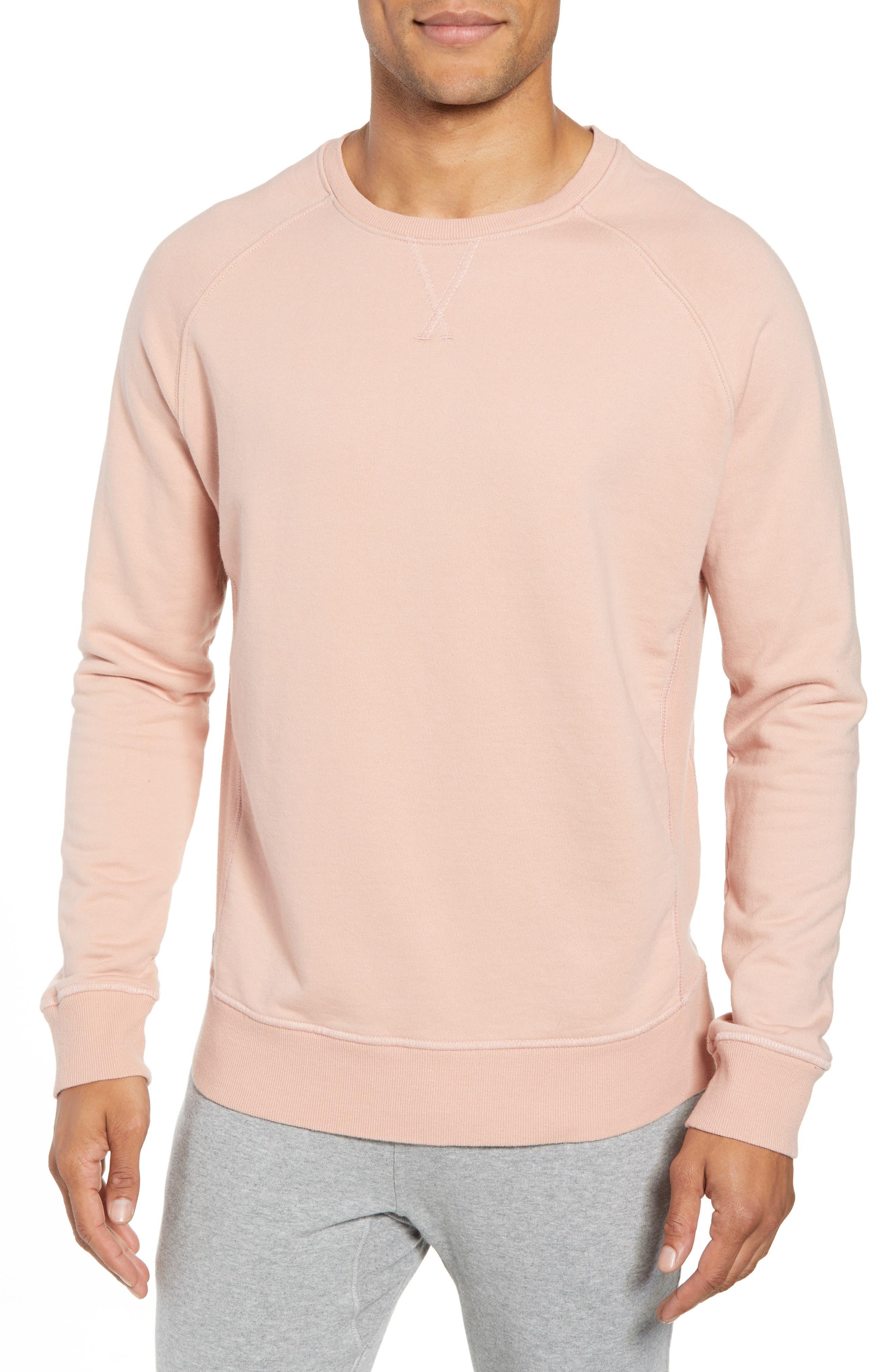 RICHER POORER, Crewneck Cotton Sweatshirt, Main thumbnail 1, color, BLUSH