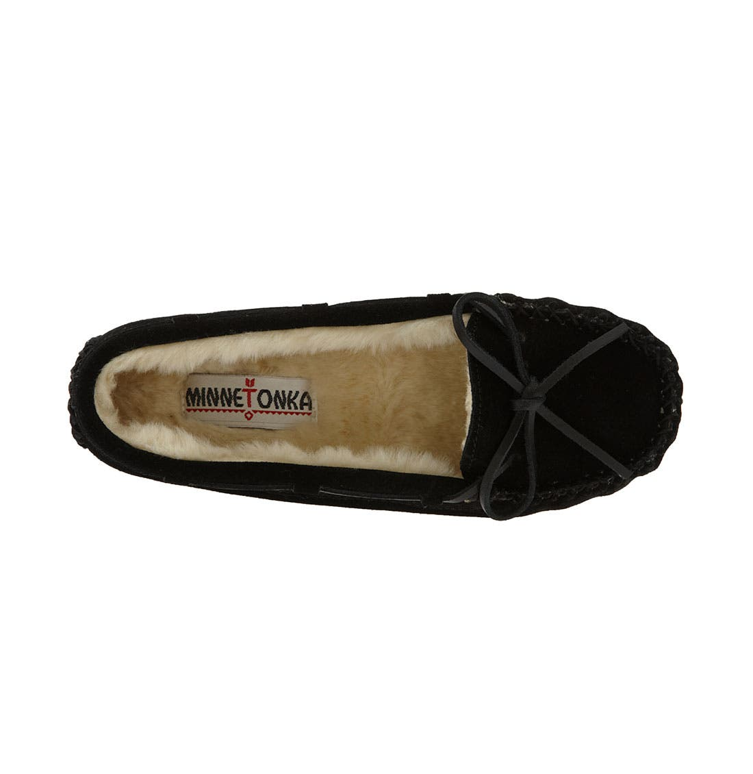 MINNETONKA, 'Cally' Slipper, Alternate thumbnail 7, color, BLACK SUEDE