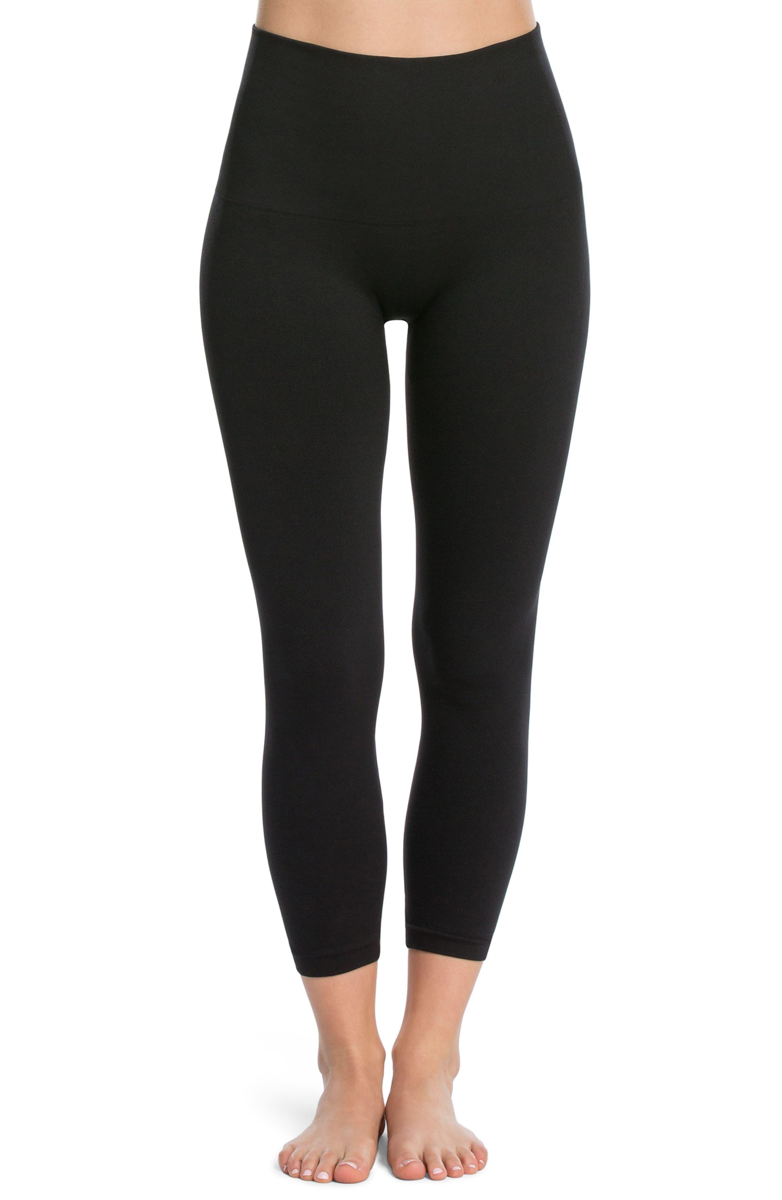 SPANX<SUP>®</SUP> SPANX Look At Me Now Crop Seamless Leggings, Main, color, BLACK