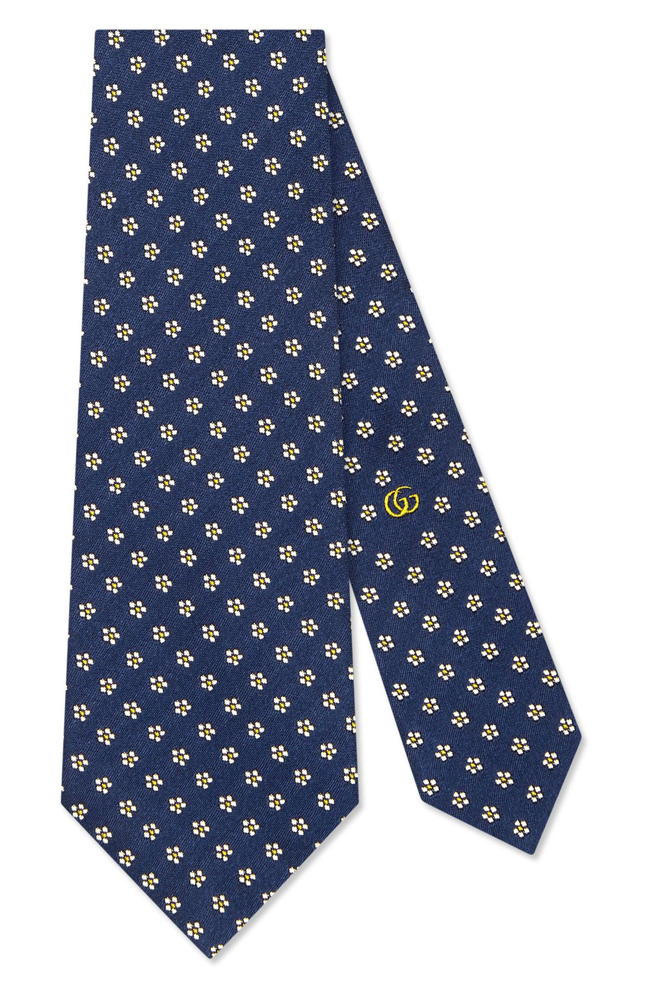 GUCCI, Tiger Patch Silk Tie, Main thumbnail 1, color, SAPPHIRE