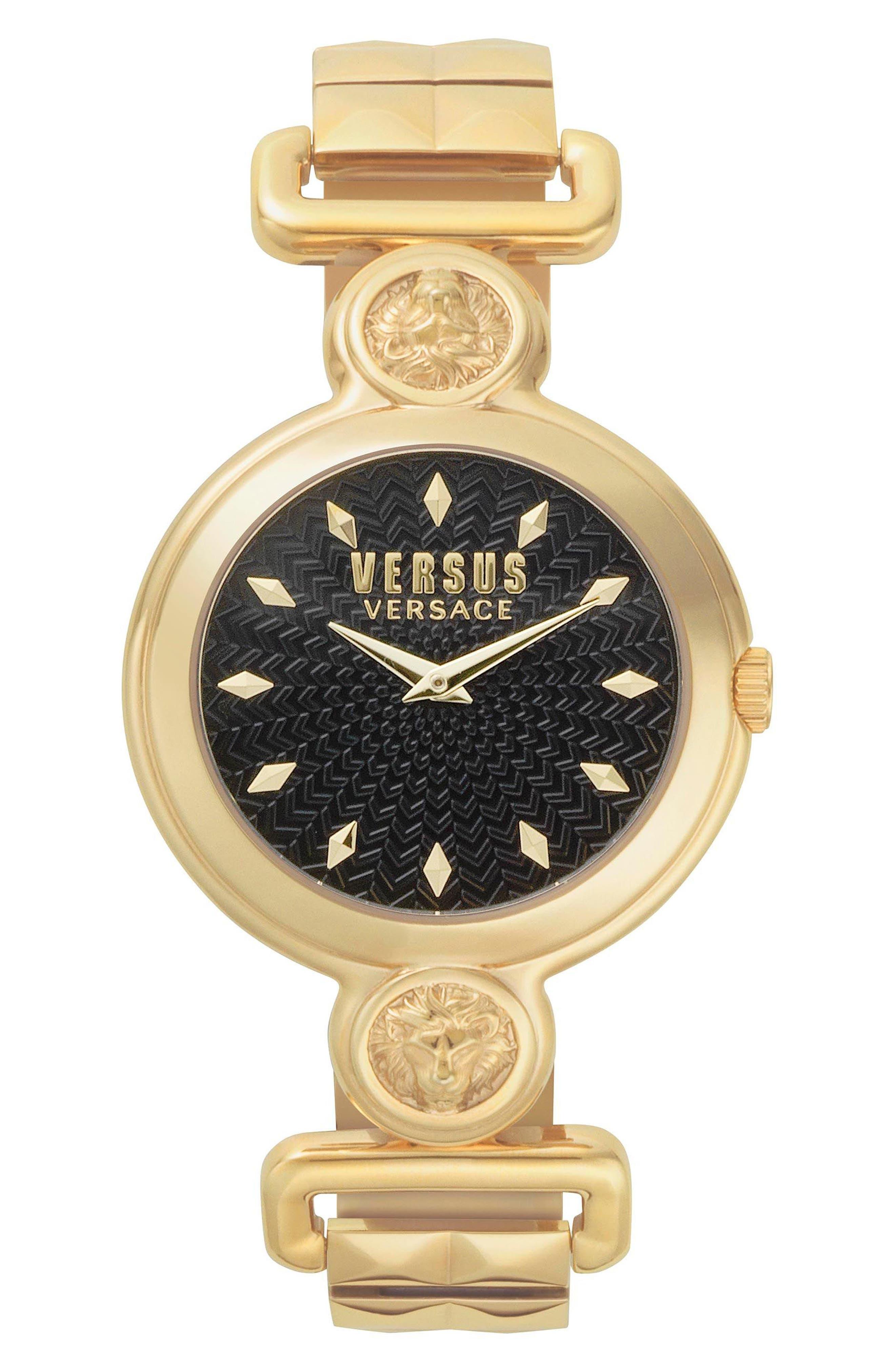 VERSUS VERSACE, Sunnyridge Bracelet Watch, 34mm, Main thumbnail 1, color, GOLD/ BLACK/ GOLD