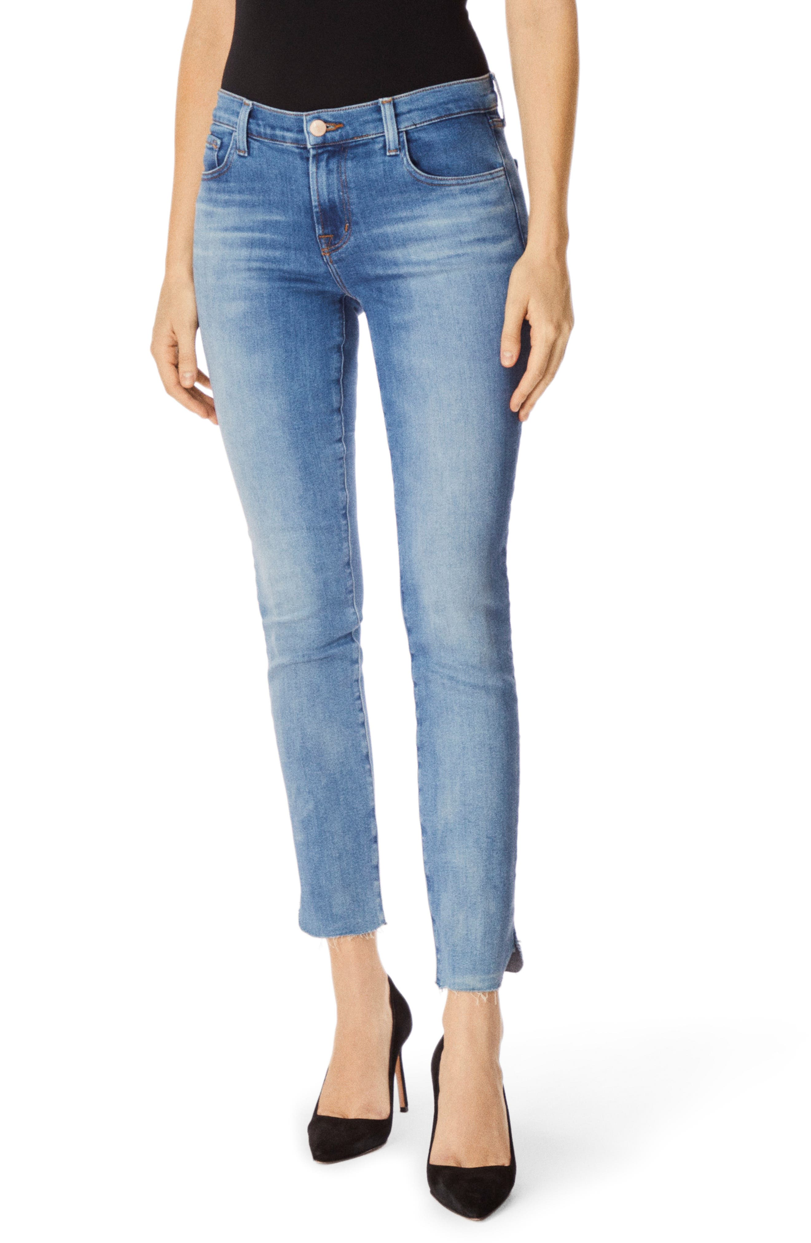 J BRAND 811 Raw Hem Ankle Skinny Jeans, Main, color, 400